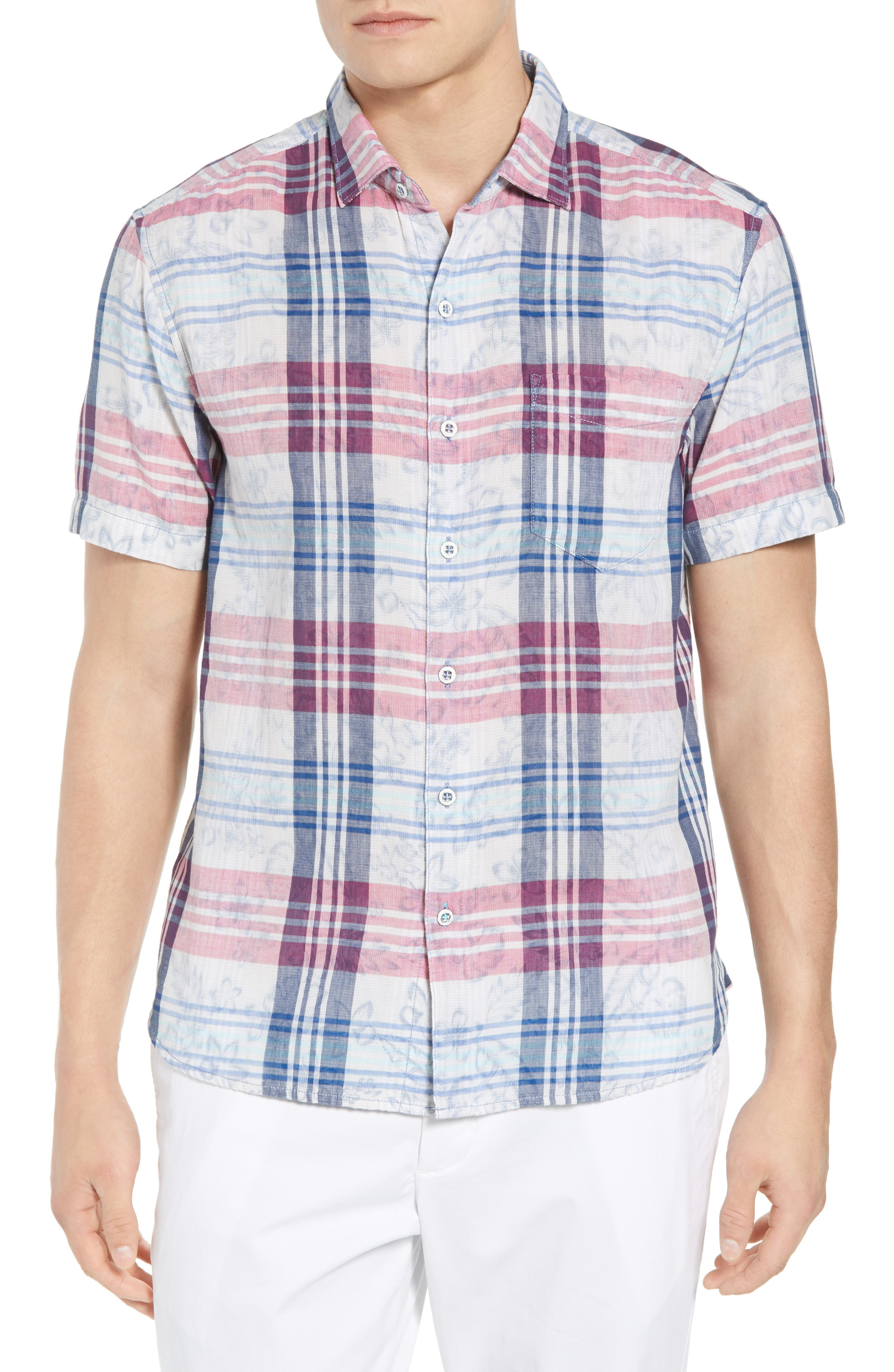 Zuma Plaid Sport Shirt,                             Main thumbnail 1, color,                             OCEAN DEEP
