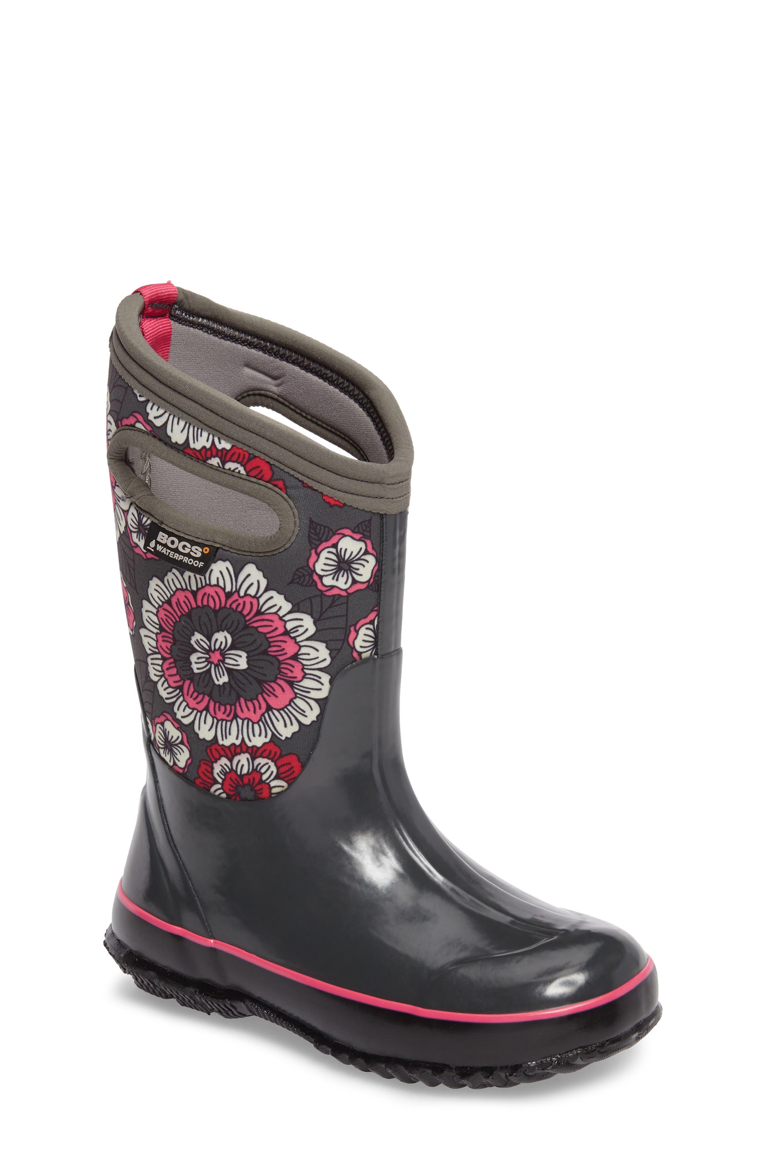 Classic Pansies Insulated Waterproof Boot,                         Main,                         color, DARK GRAY MULTI