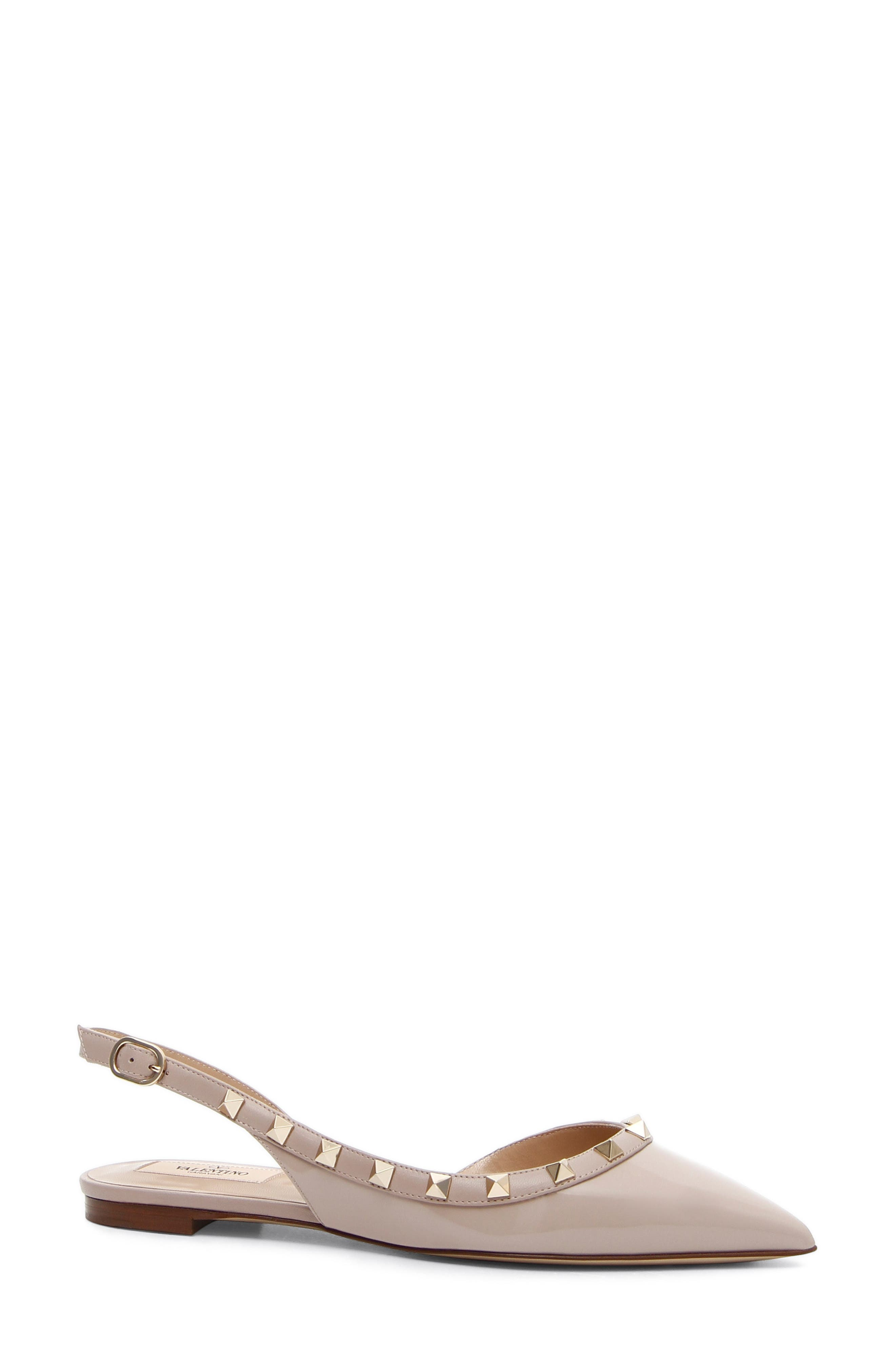 Rockstud Slingback Ballerina Flat,                             Main thumbnail 1, color,                             POUDRE LEATHER