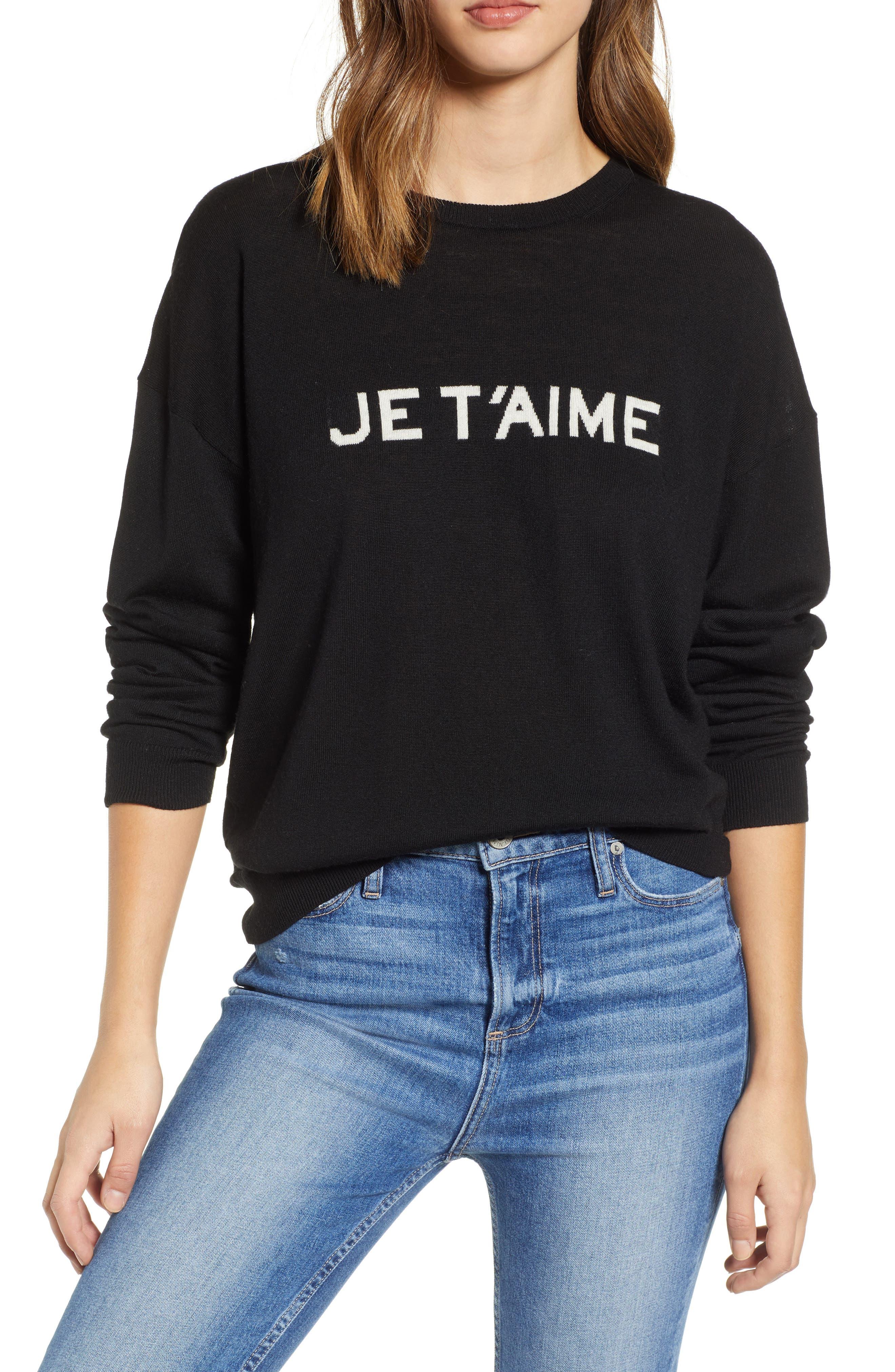 Je T'aime Sweater,                         Main,                         color, NOIR