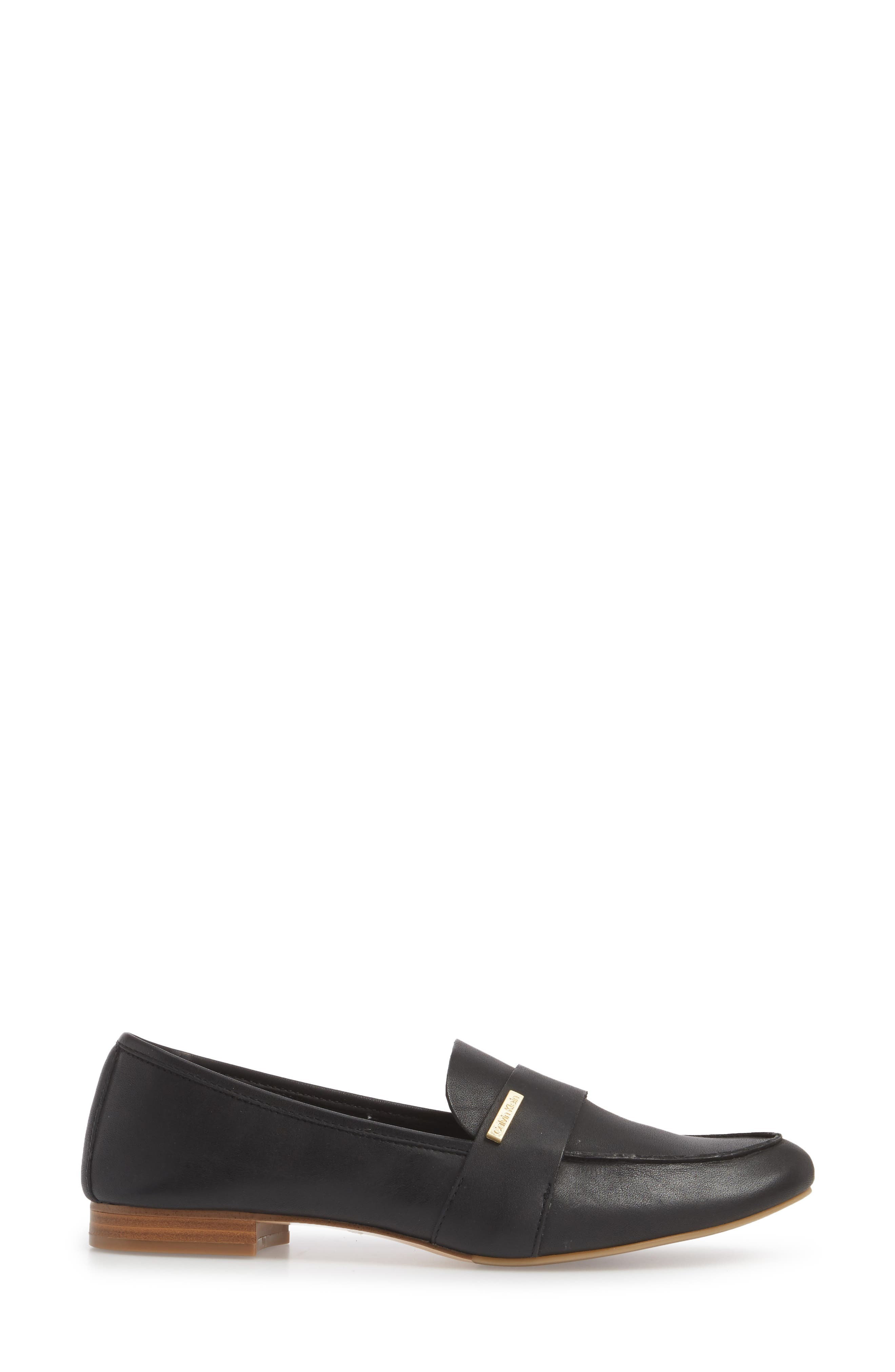 Cemmie Loafer,                             Alternate thumbnail 3, color,                             BLACK LEATHER