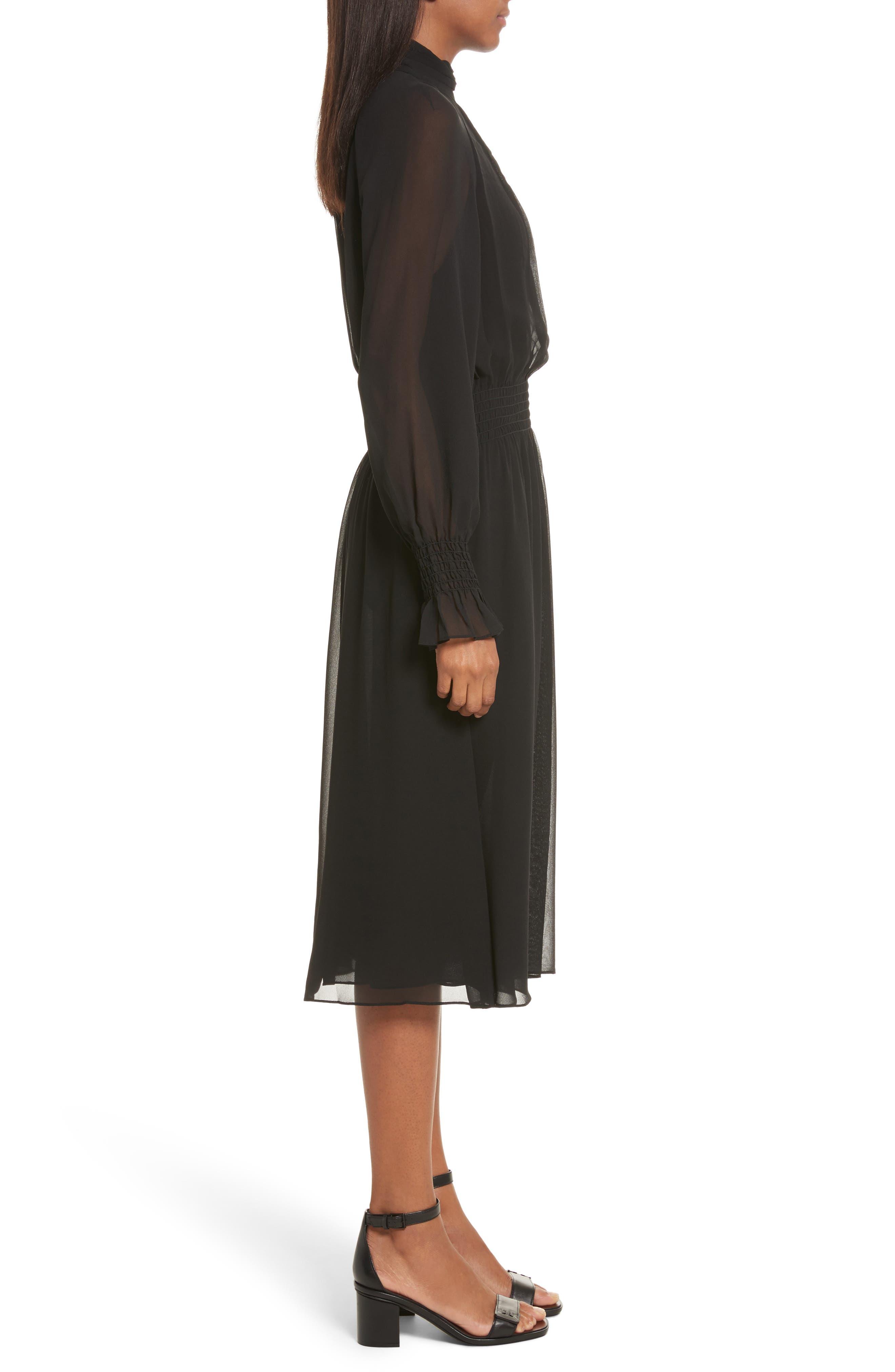 Collette Silk Midi Dress,                             Alternate thumbnail 3, color,                             001