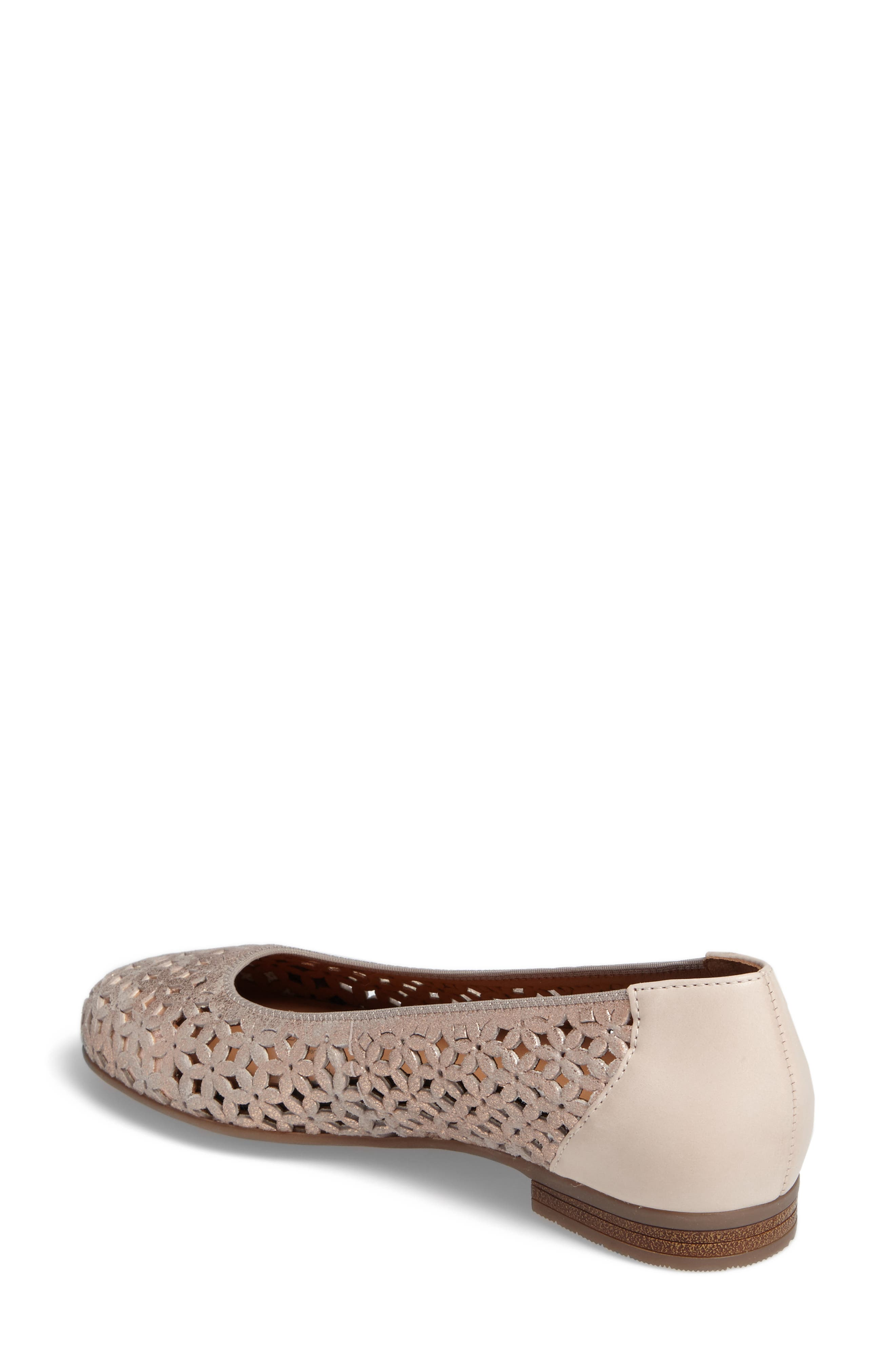 Stephanie Perforated Ballet Flat,                             Alternate thumbnail 2, color,                             ROSE GOLD LEATHER