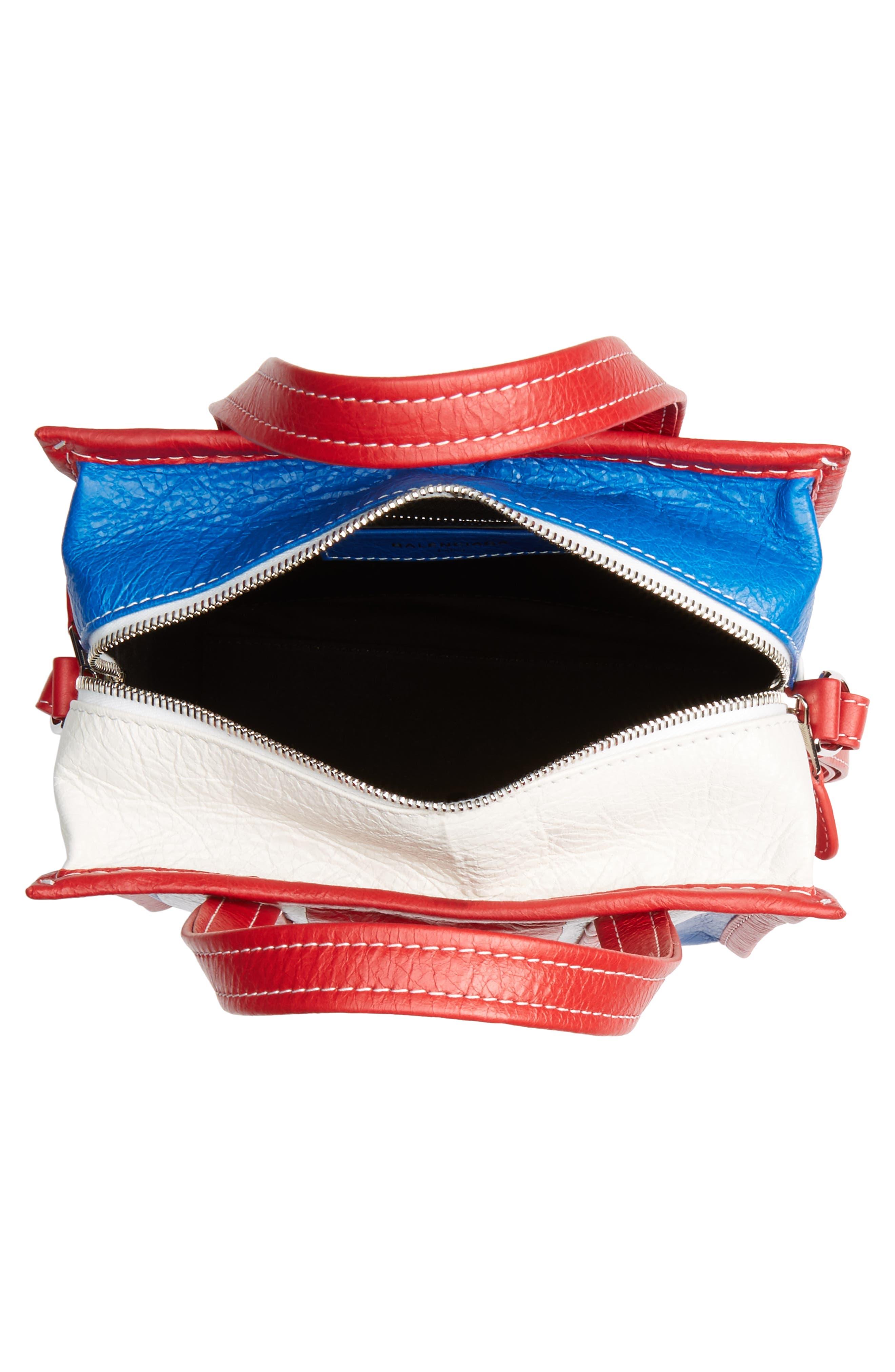 Extra Small Bazar Leather AJ Shopper,                             Alternate thumbnail 4, color,                             BLUE/ BLANC/ ROUGE