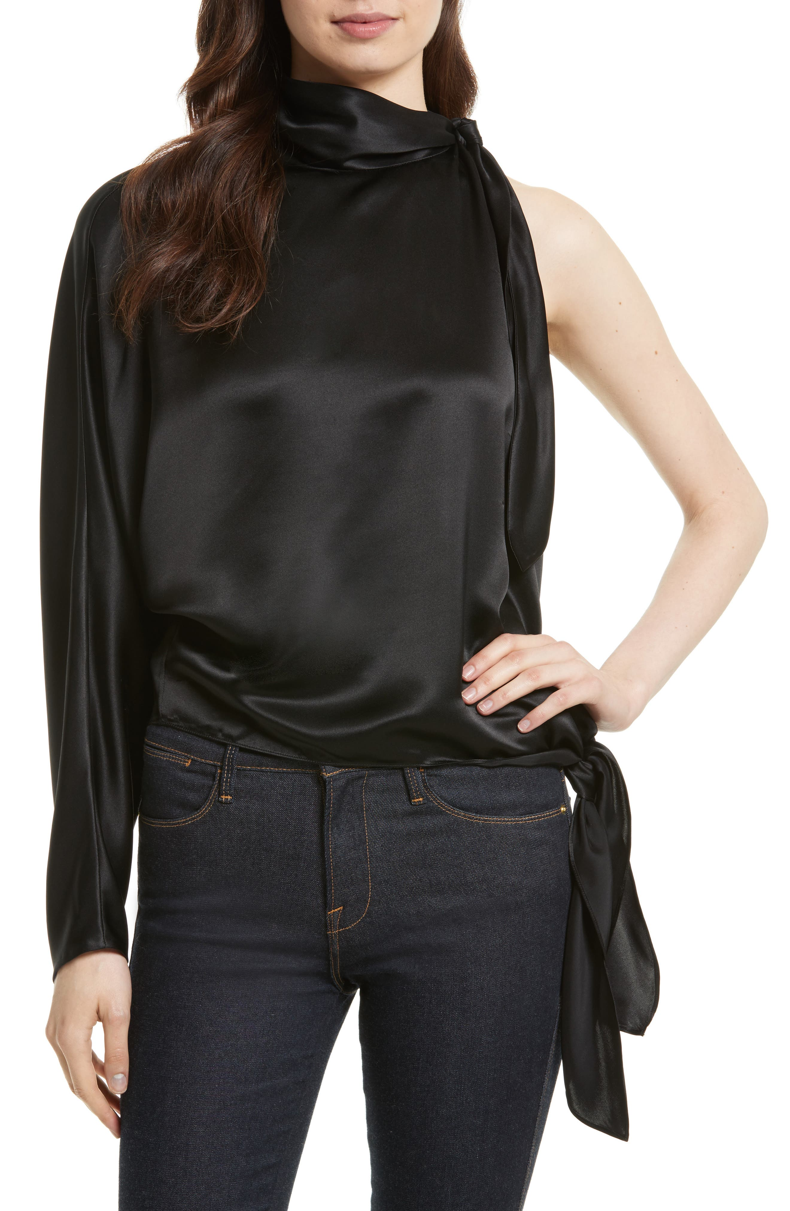 One-Shoulder Knotted Satin Blouse,                             Main thumbnail 1, color,                             001