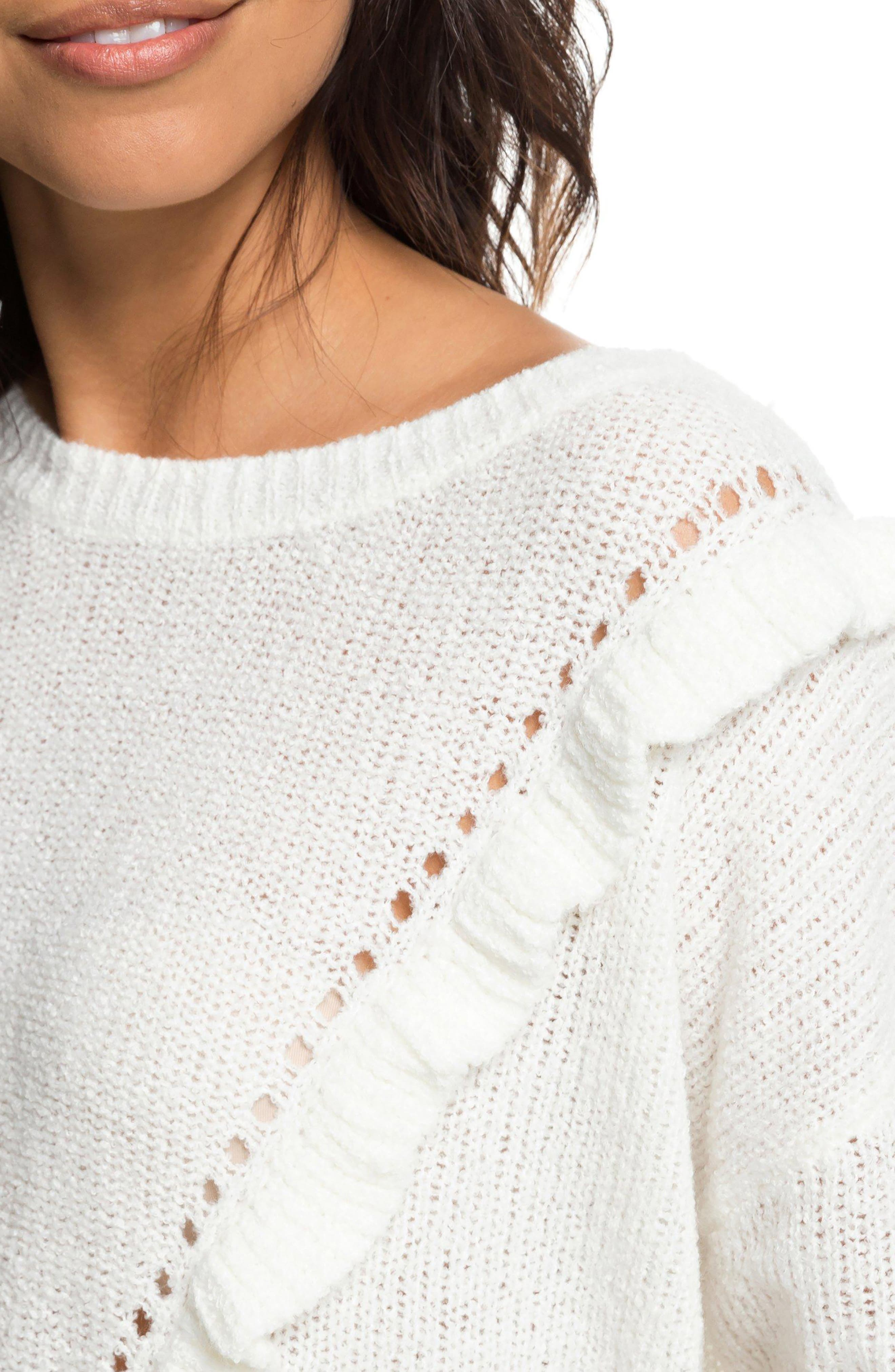 One Fine Stay Ruffle Sweater,                             Alternate thumbnail 4, color,                             MARSHMALLOW
