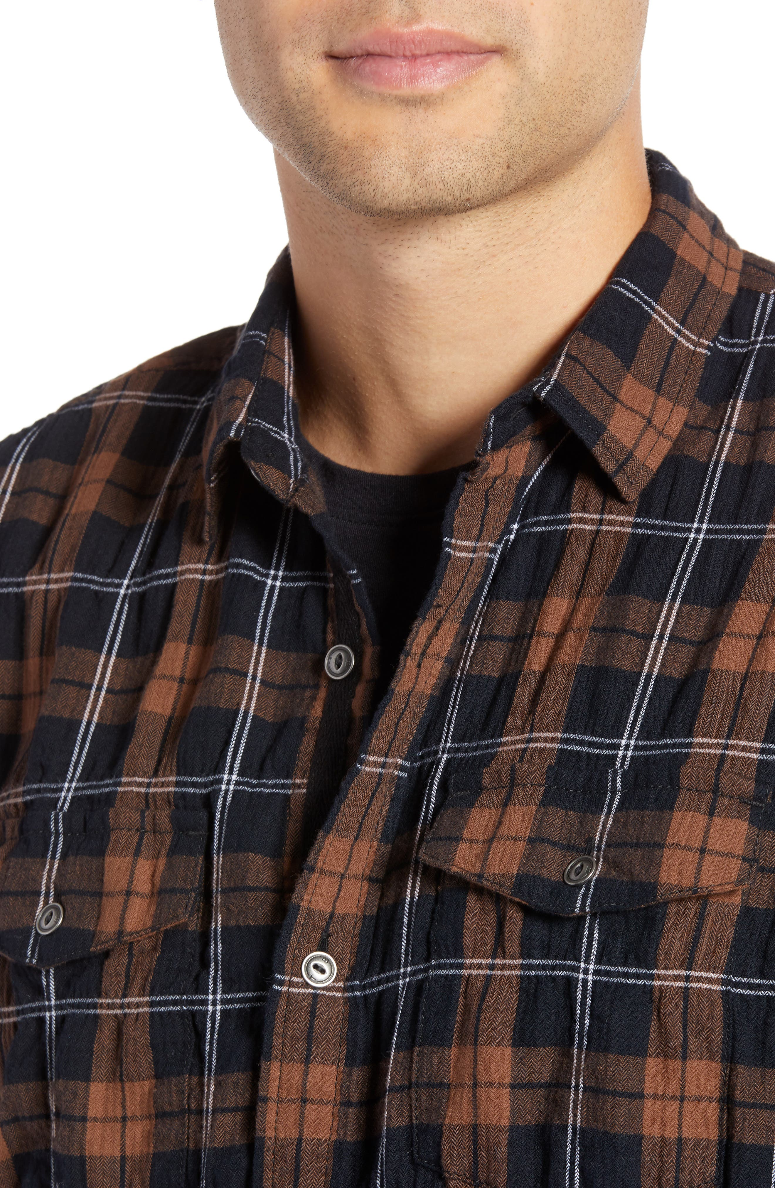 Regular Fit Plaid Sport Shirt,                             Alternate thumbnail 4, color,                             BLACK BROWN SMITH PLAID