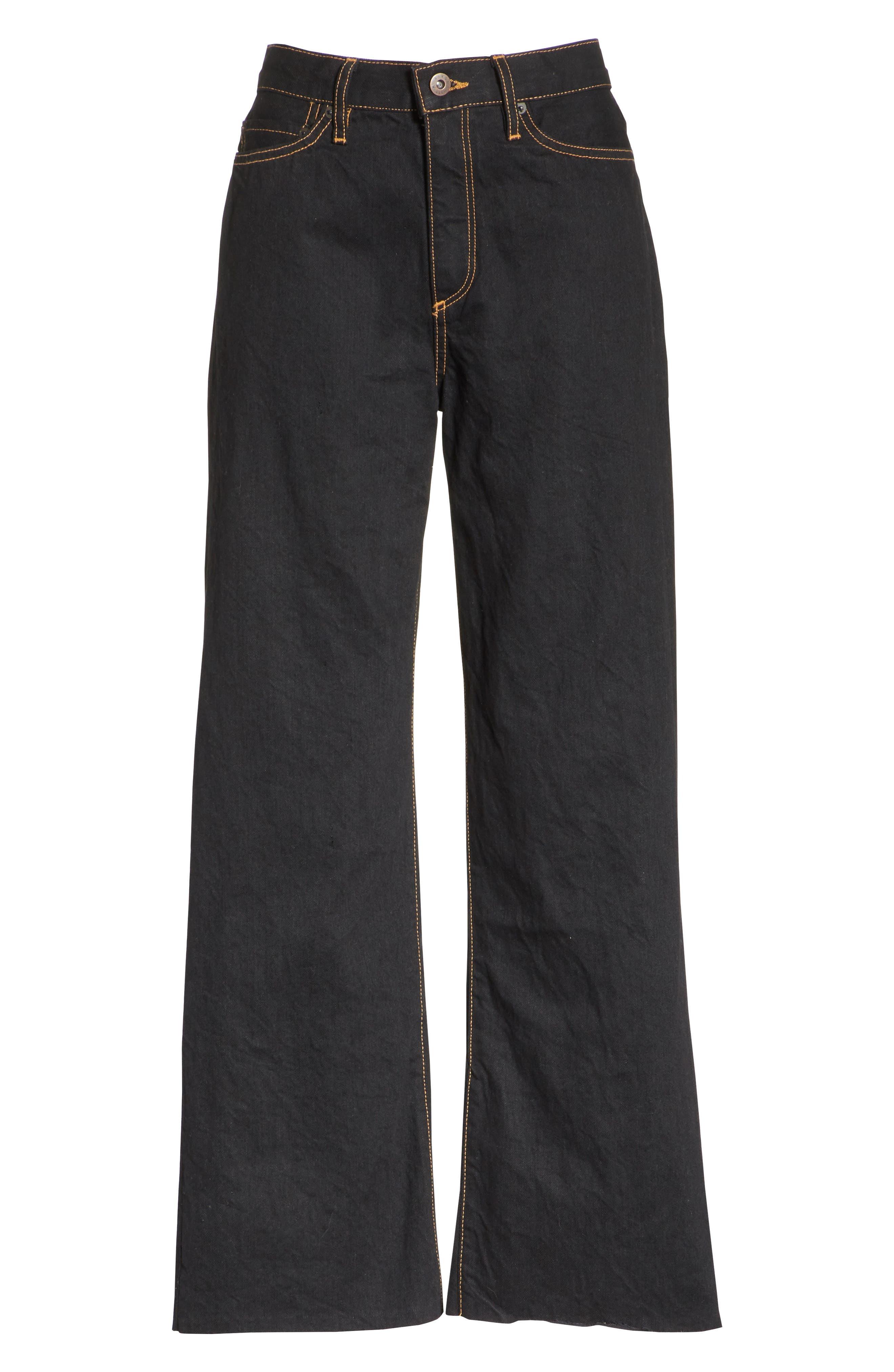 Dever Contrast Stitch Wide Leg Jeans,                             Alternate thumbnail 6, color,