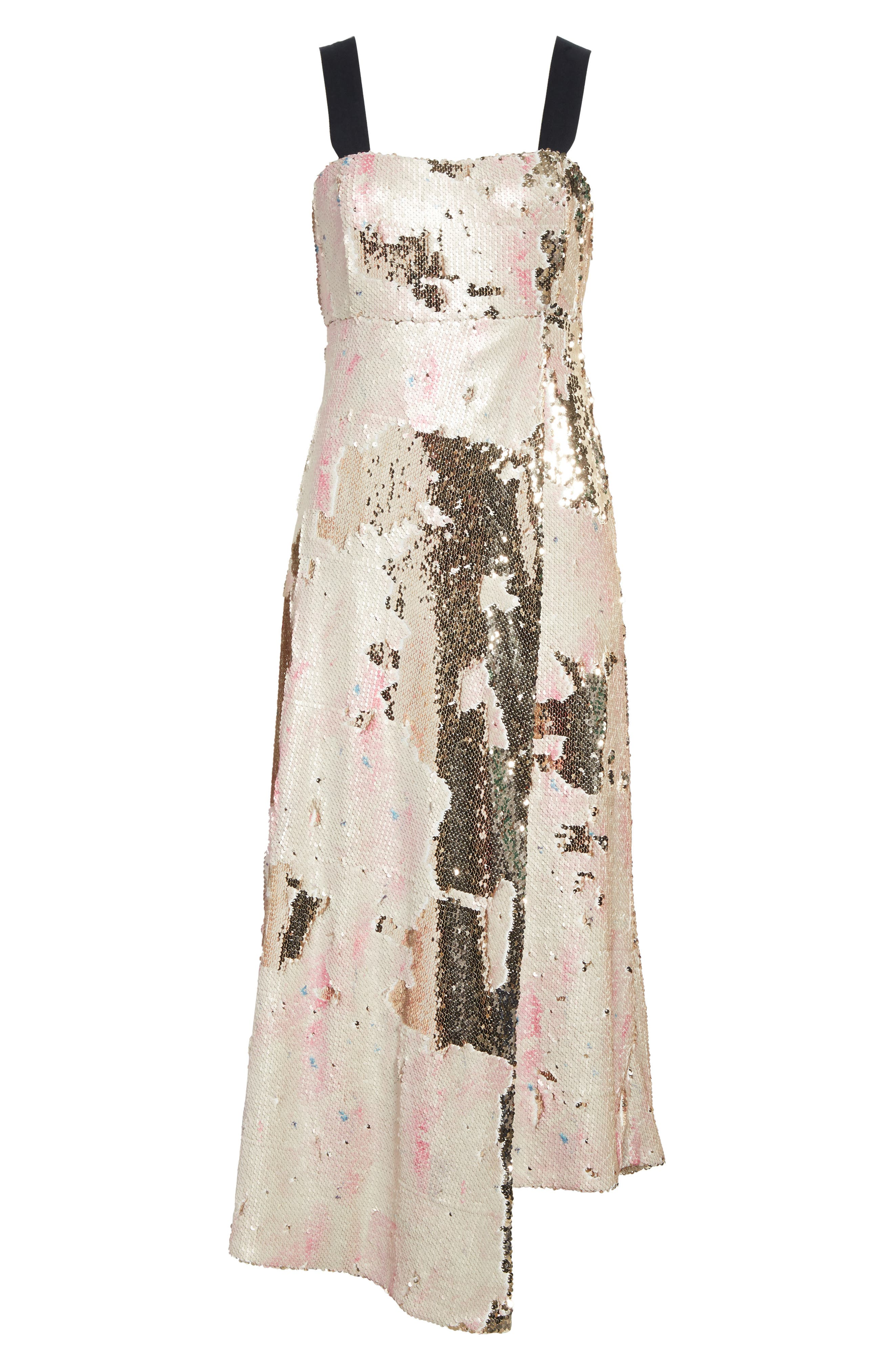 Slacken Sequined Dress,                             Alternate thumbnail 6, color,                             658