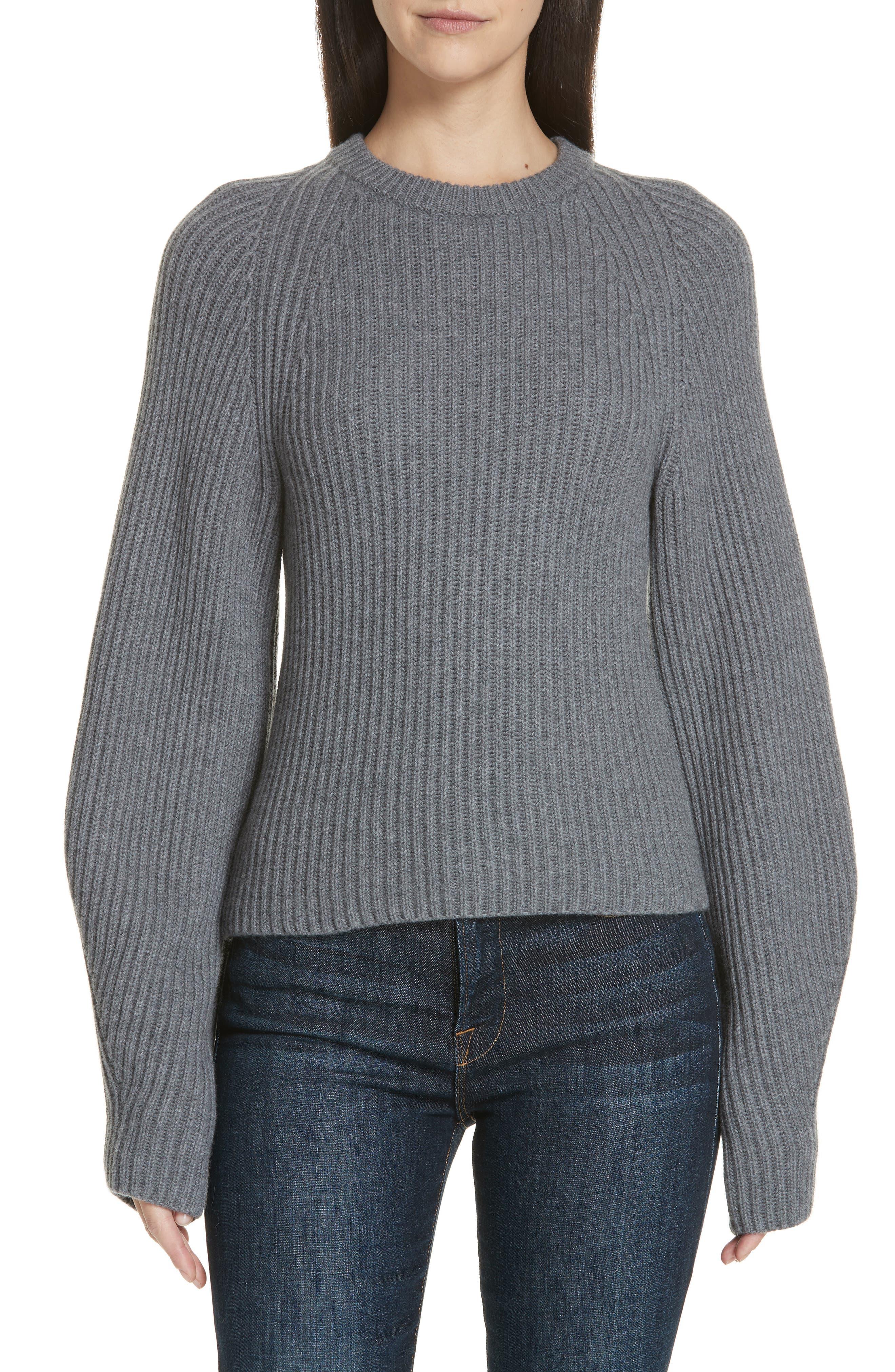 Theory Sculpted Sleeve Shaker Stitch Merino Wool Sweater, Grey