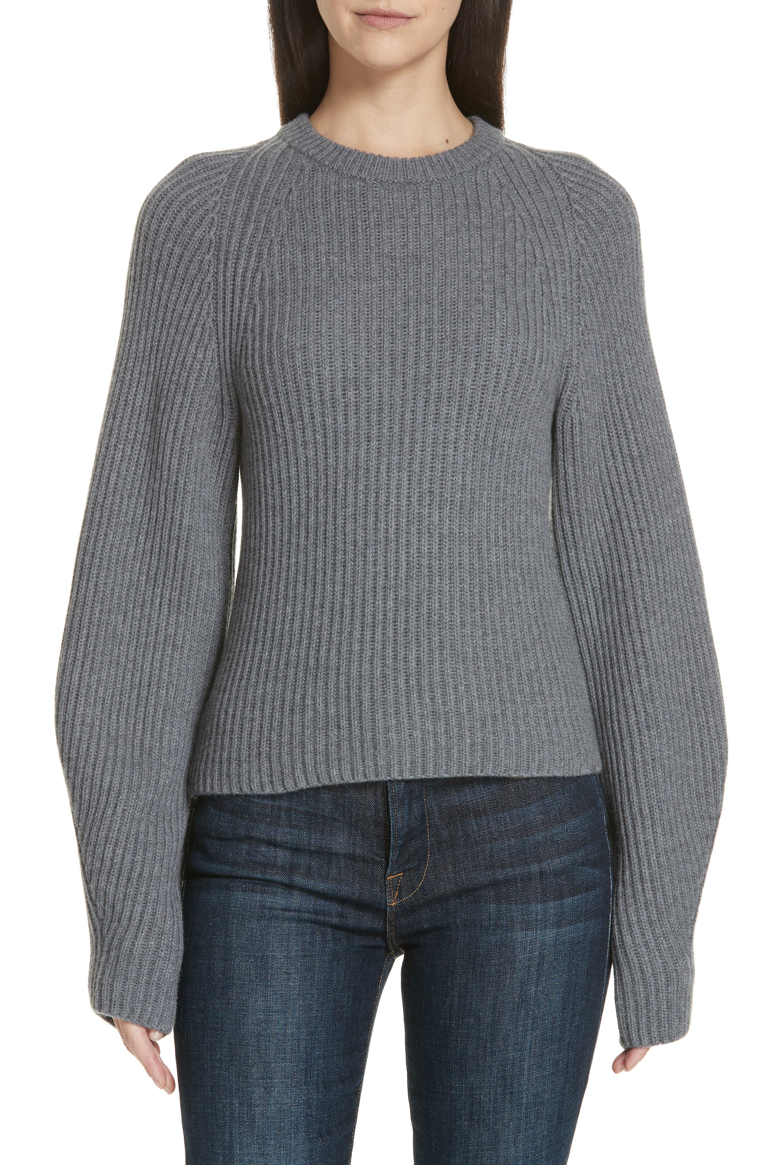 Sculpted Sleeve Shaker Stitch Merino Wool Sweater,                         Main,                         color, CHARCOAL