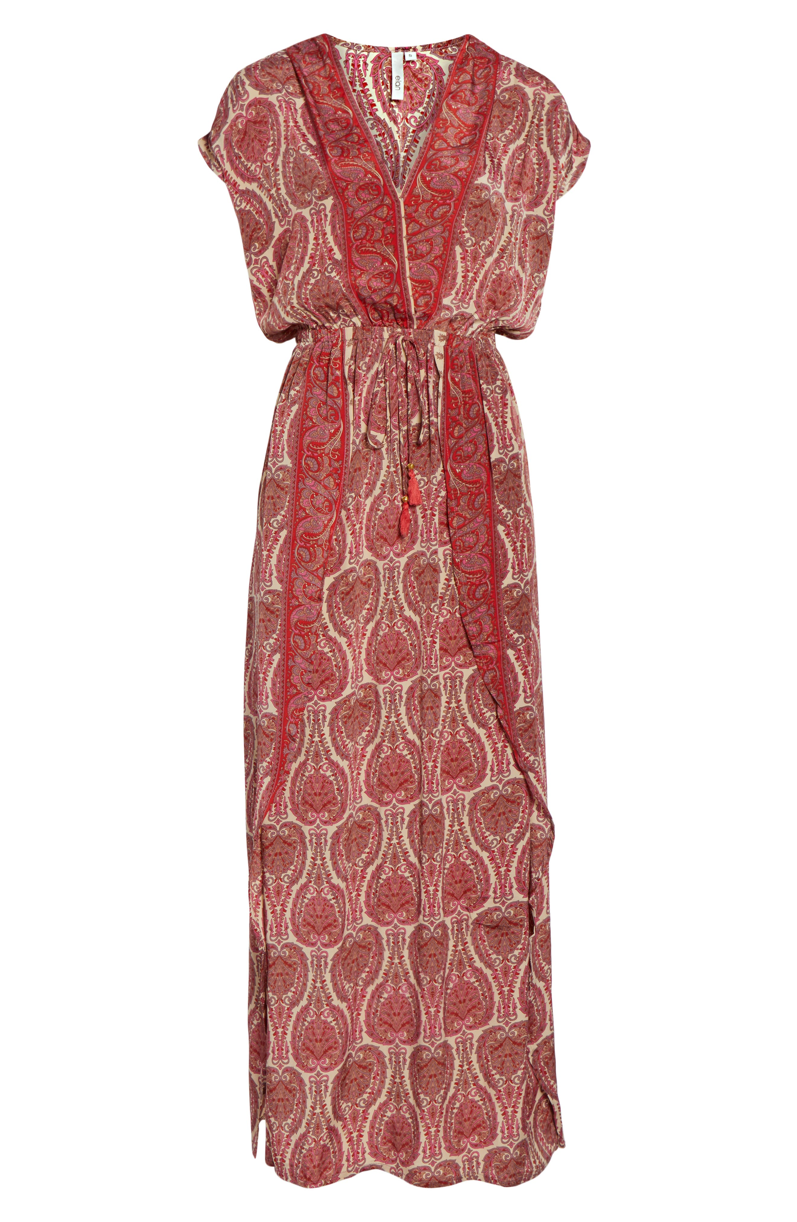 Wrap Maxi Cover-Up Dress,                             Alternate thumbnail 6, color,                             PAISLEY CORAL