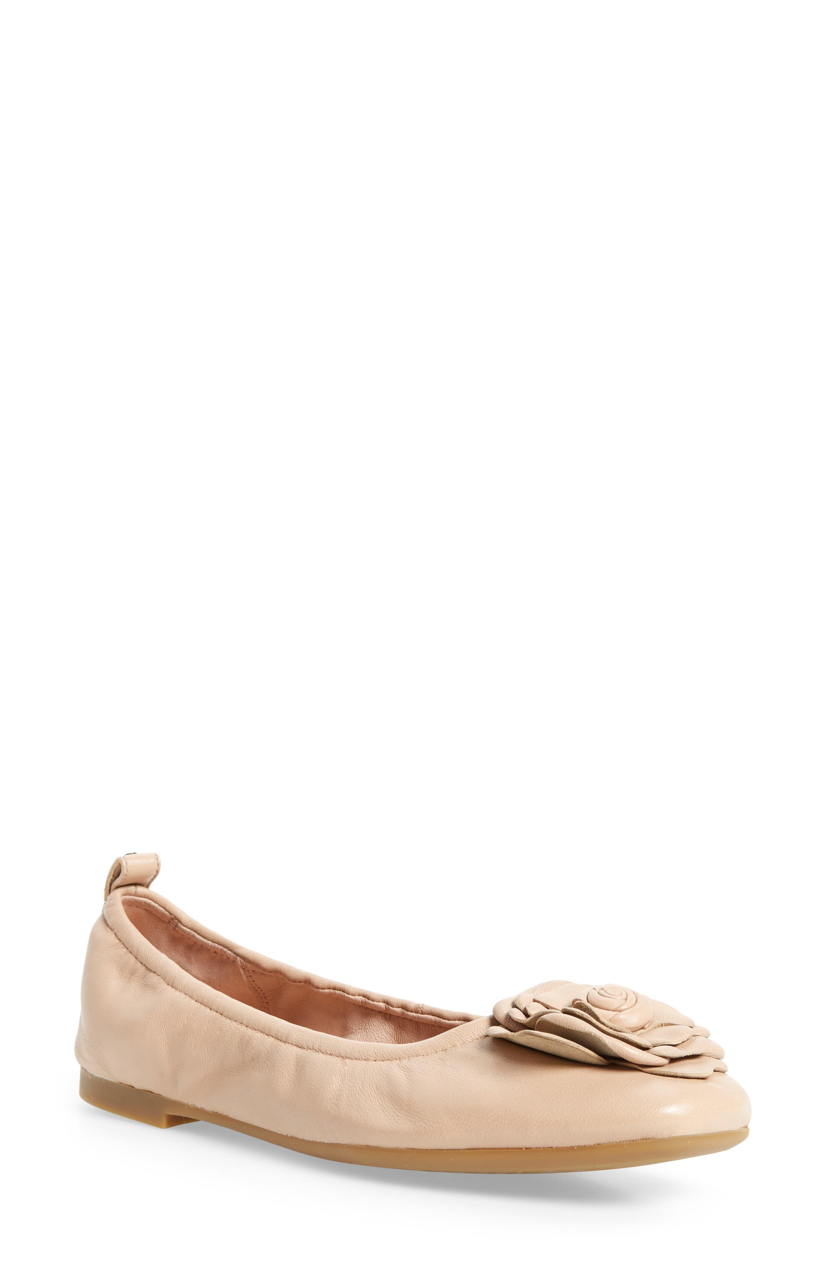 TARYN ROSE Rosalyn Leather Ballet Flats in Nocolor