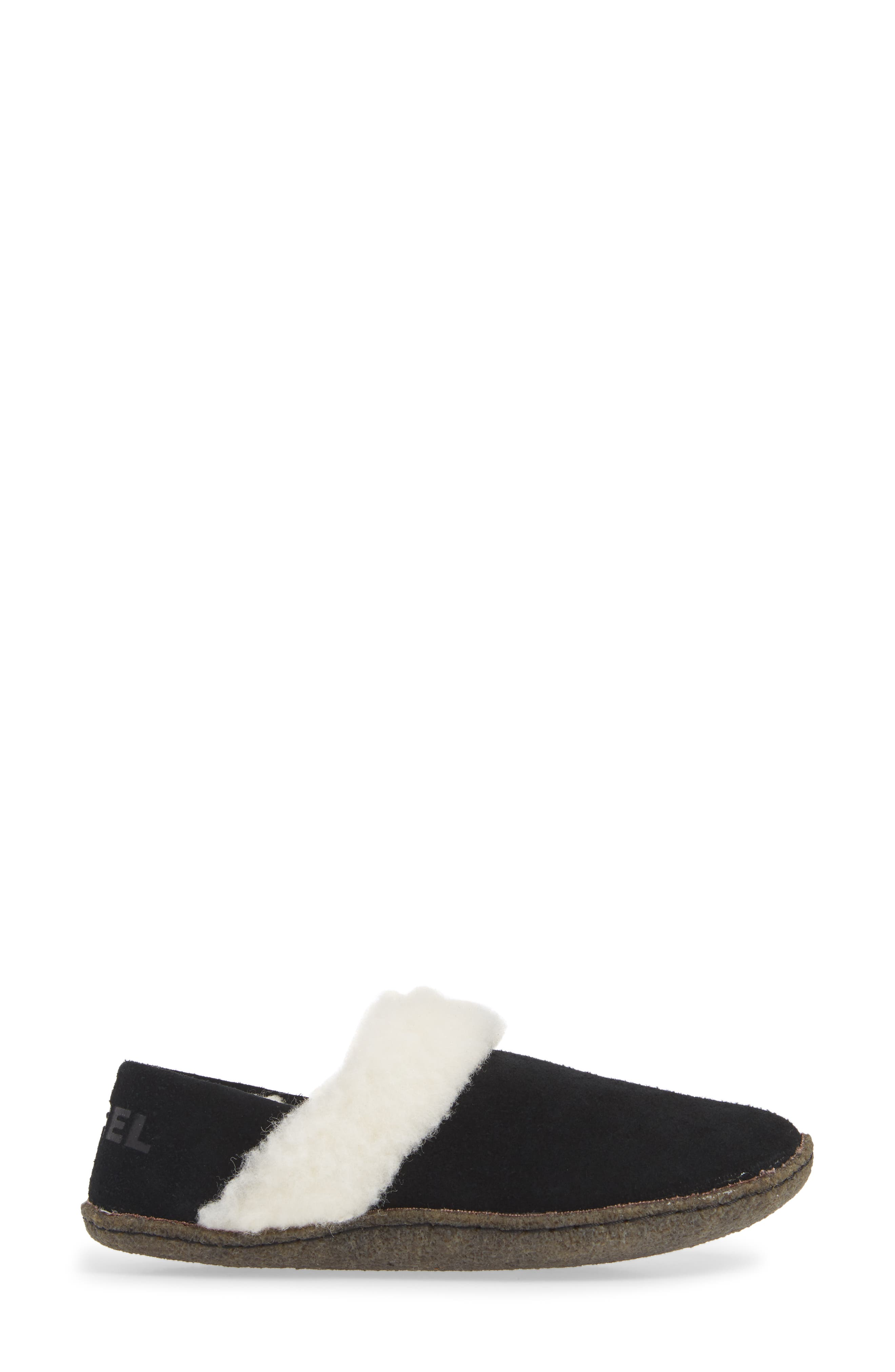 Nakiska II Faux Shearling Lined Slipper,                             Alternate thumbnail 3, color,                             BLACK/ NATURAL