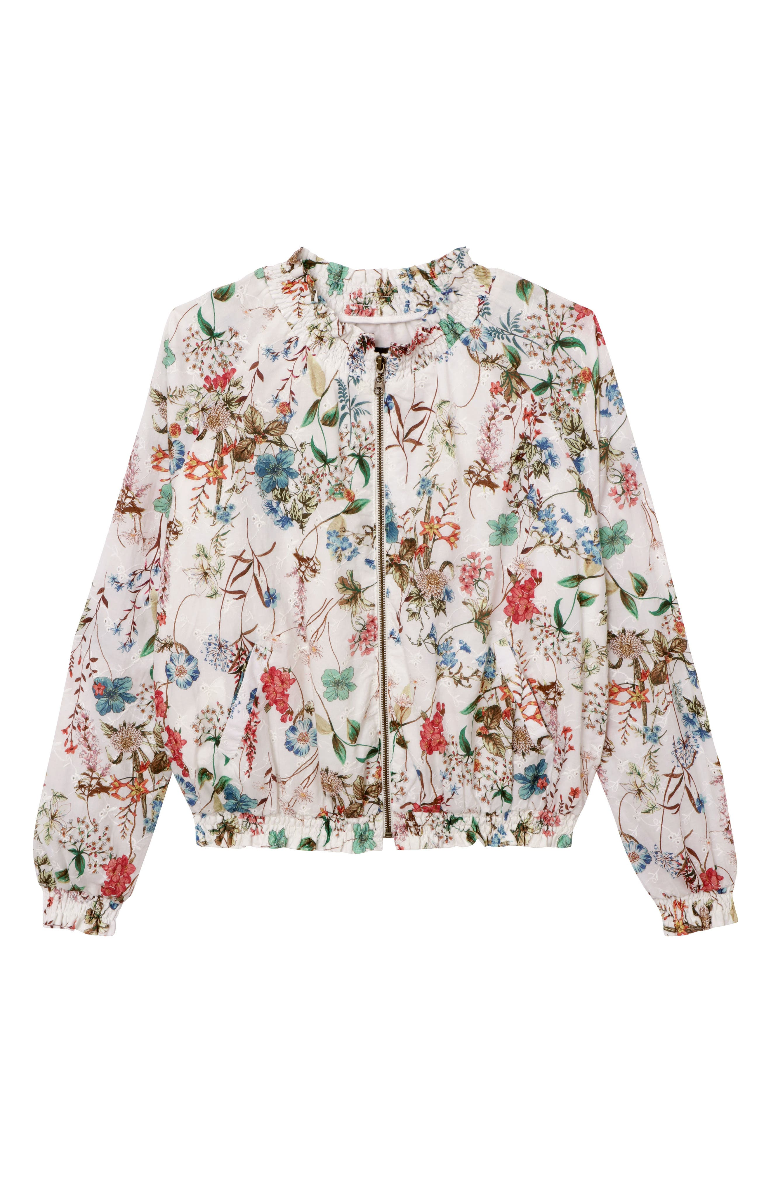 In Bloom Eyelet Bomber Jacket,                             Alternate thumbnail 3, color,                             CHEERFUL NATURE