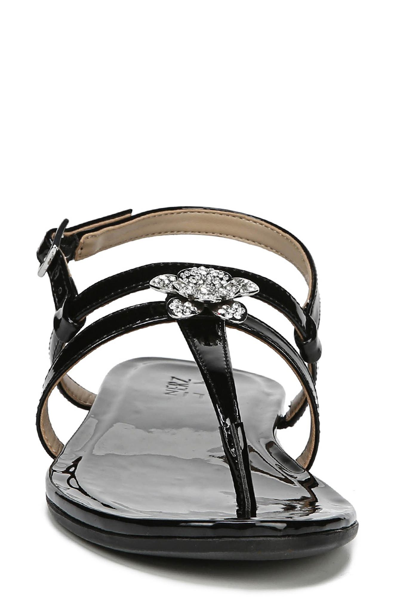 Tilly Embellished Sandal,                             Alternate thumbnail 4, color,                             BLACK PATENT FAUX LEATHER