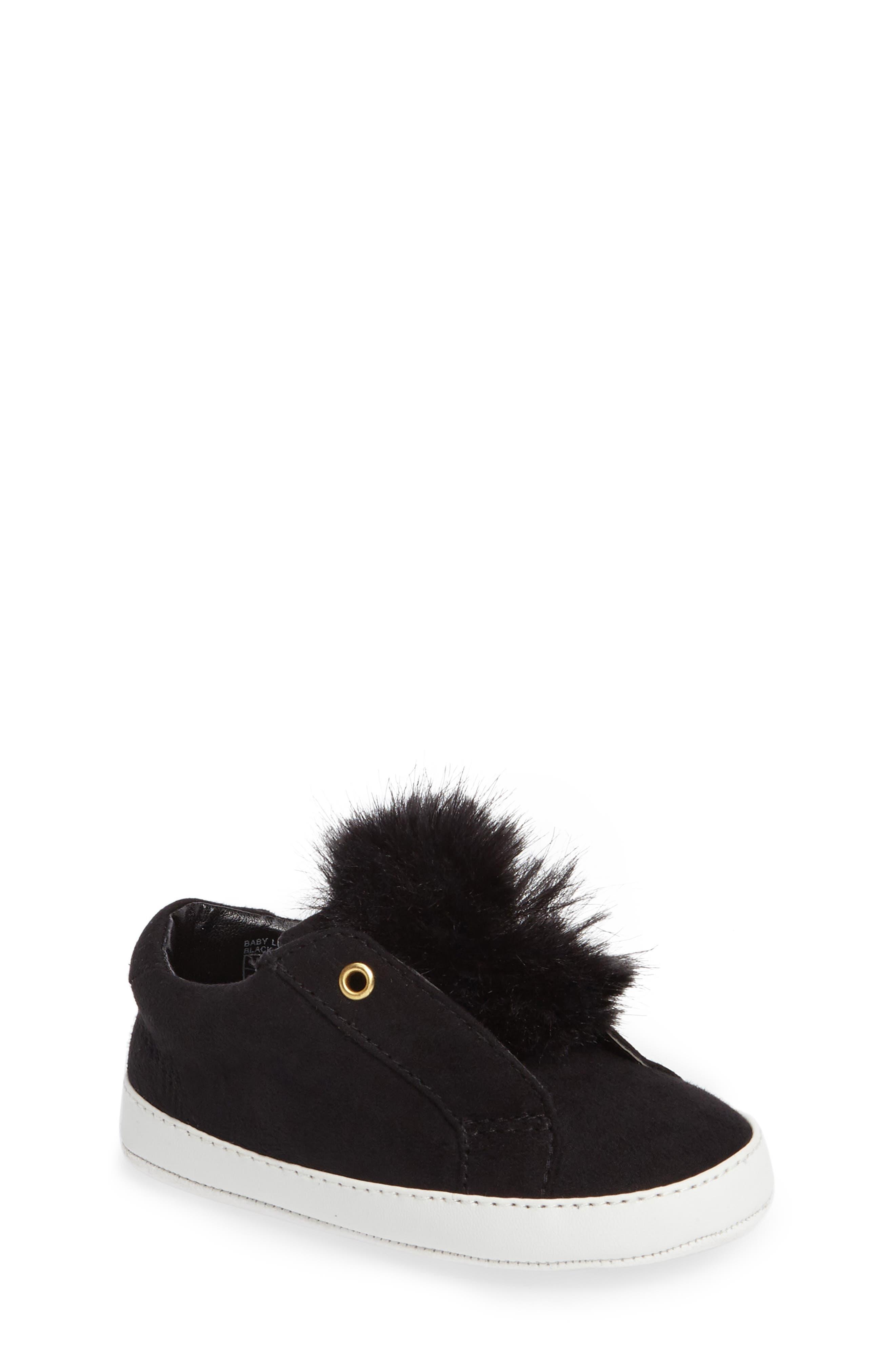 Leya Faux Fur Pompom Sneaker,                         Main,                         color, 001