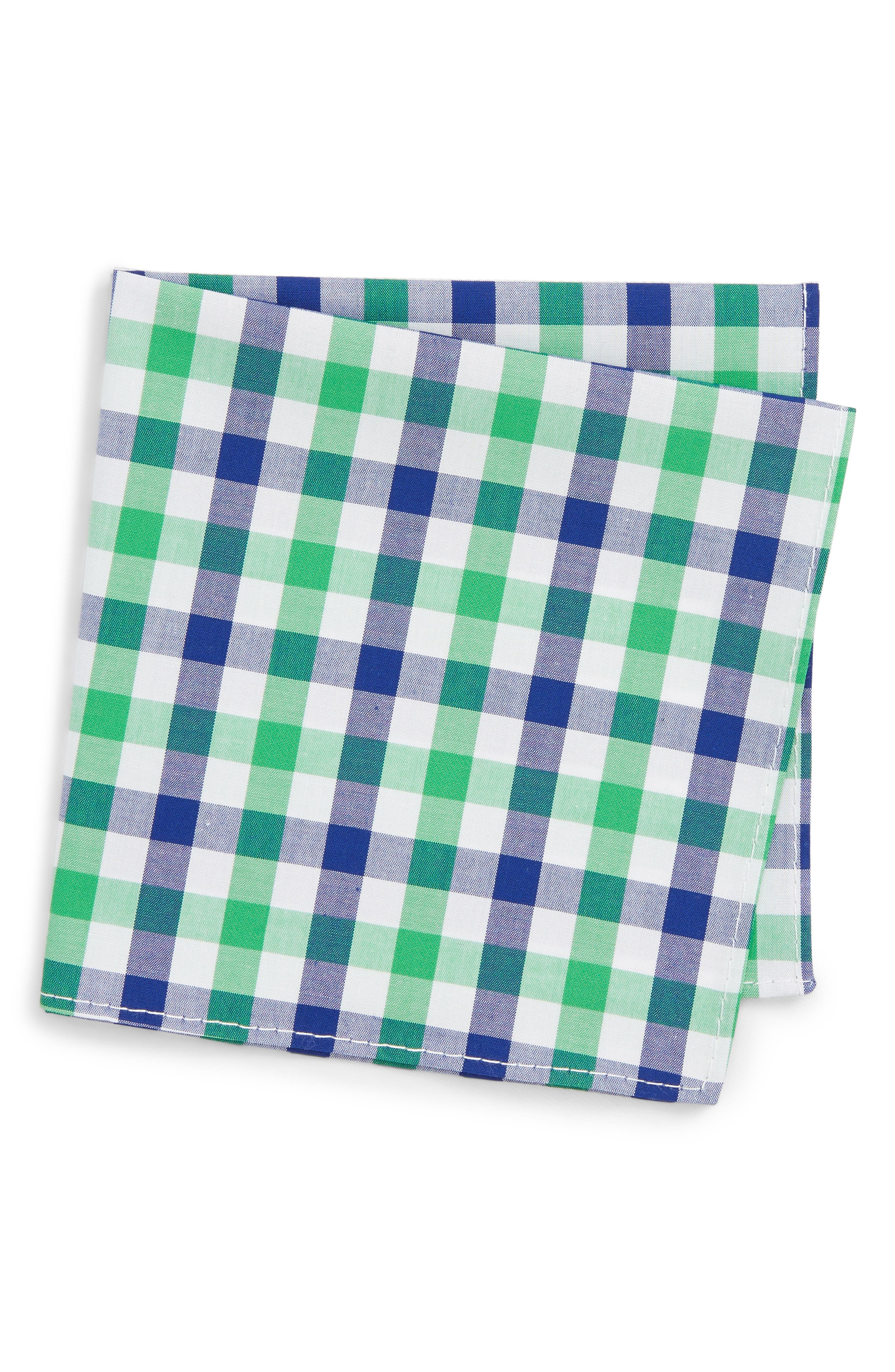 Gingham Pocket Square,                         Main,                         color, GREEN