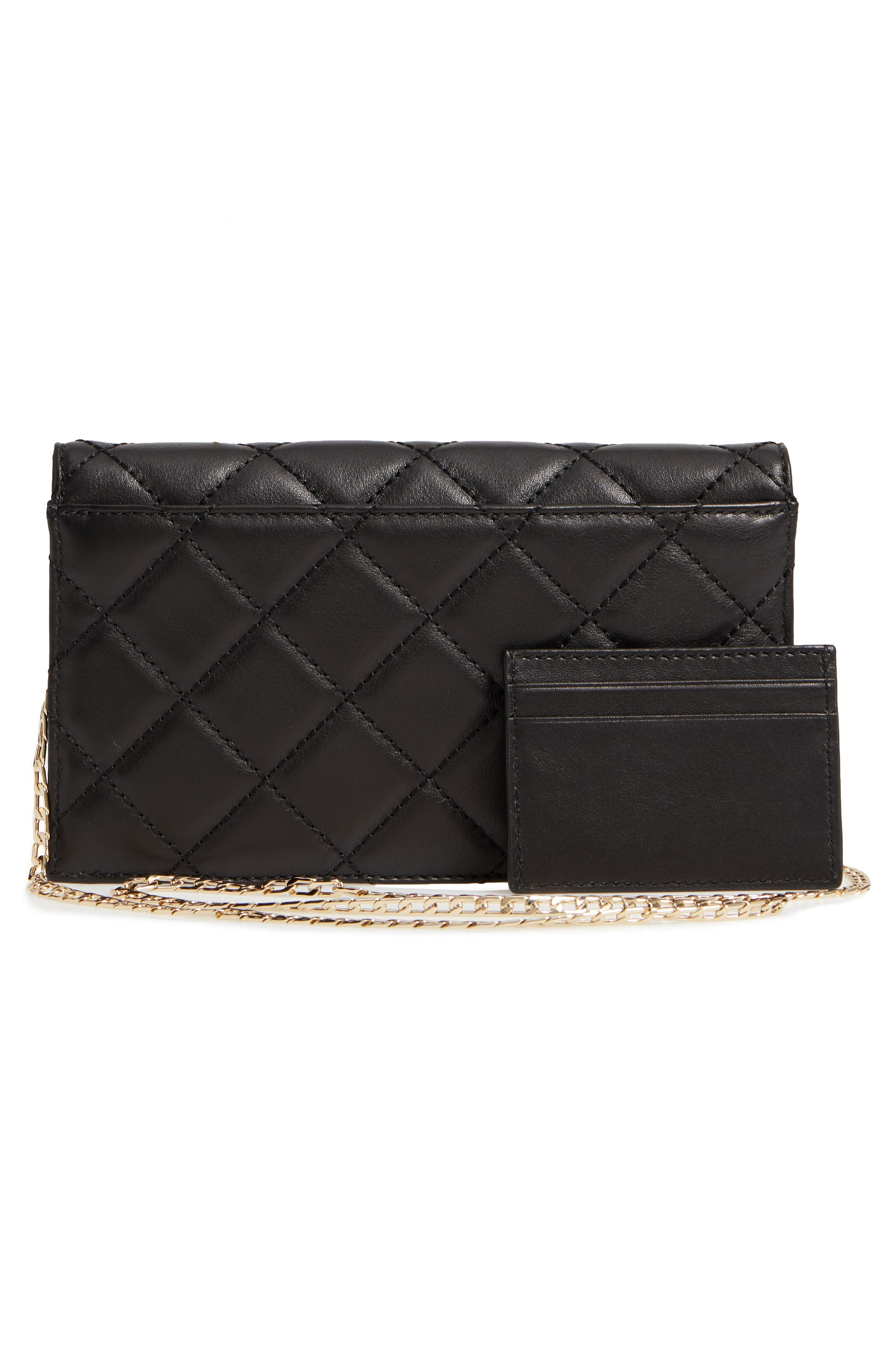 emerson place - brennan quilted leather convertible clutch & card holder,                             Alternate thumbnail 3, color,                             001