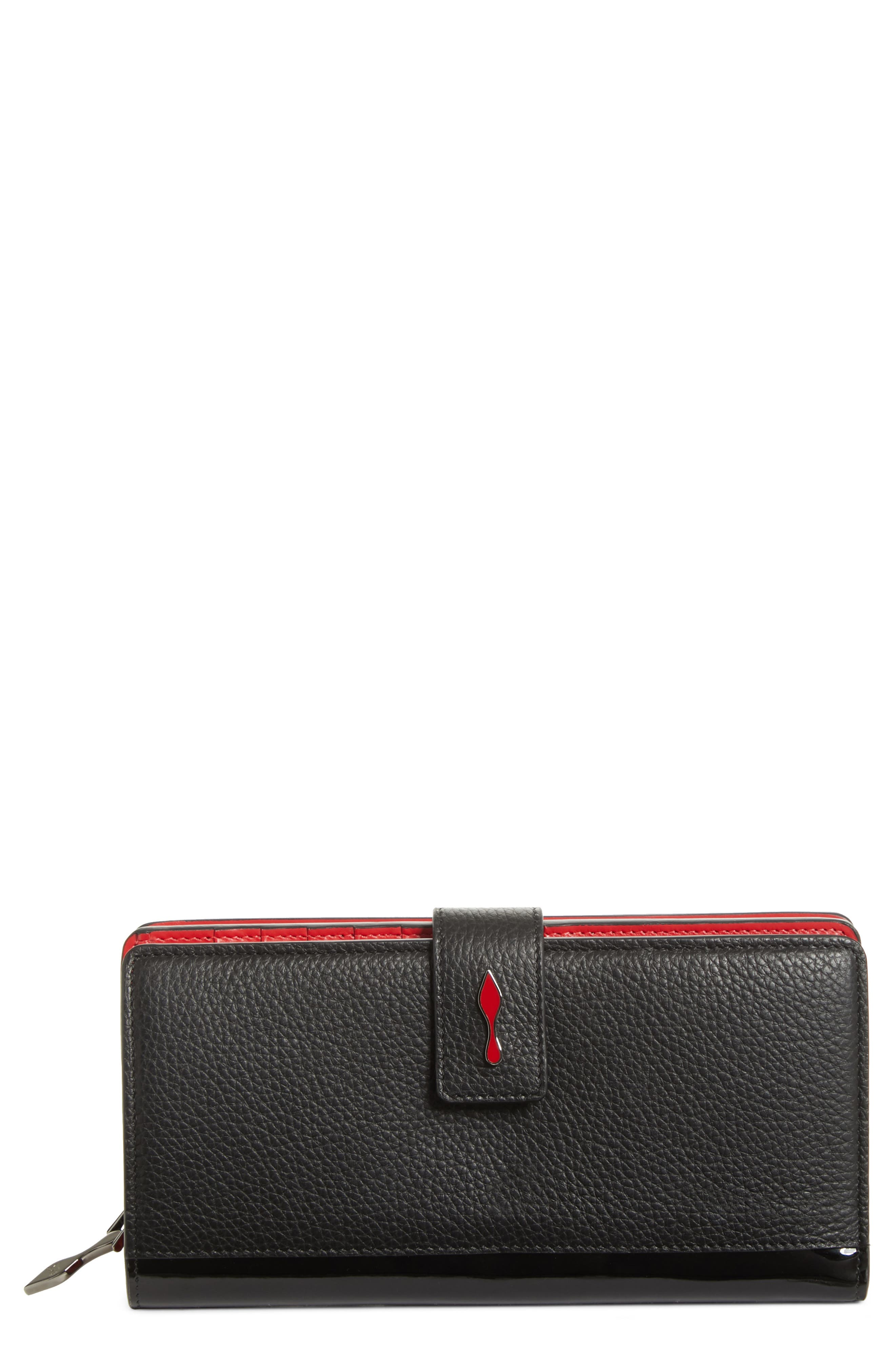 CHRISTIAN LOUBOUTIN,                             Paloma Calfskin Leather Wallet,                             Main thumbnail 1, color,                             007