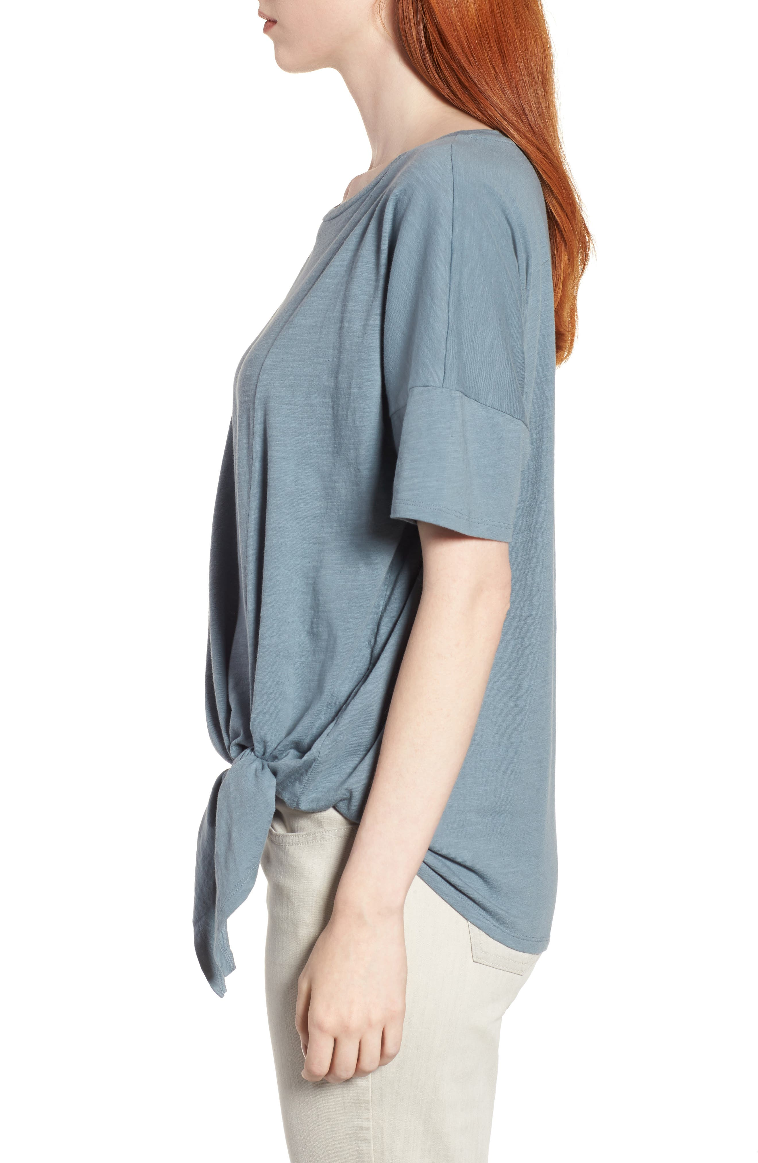 Tie Hem Organic Cotton Tee,                             Alternate thumbnail 16, color,