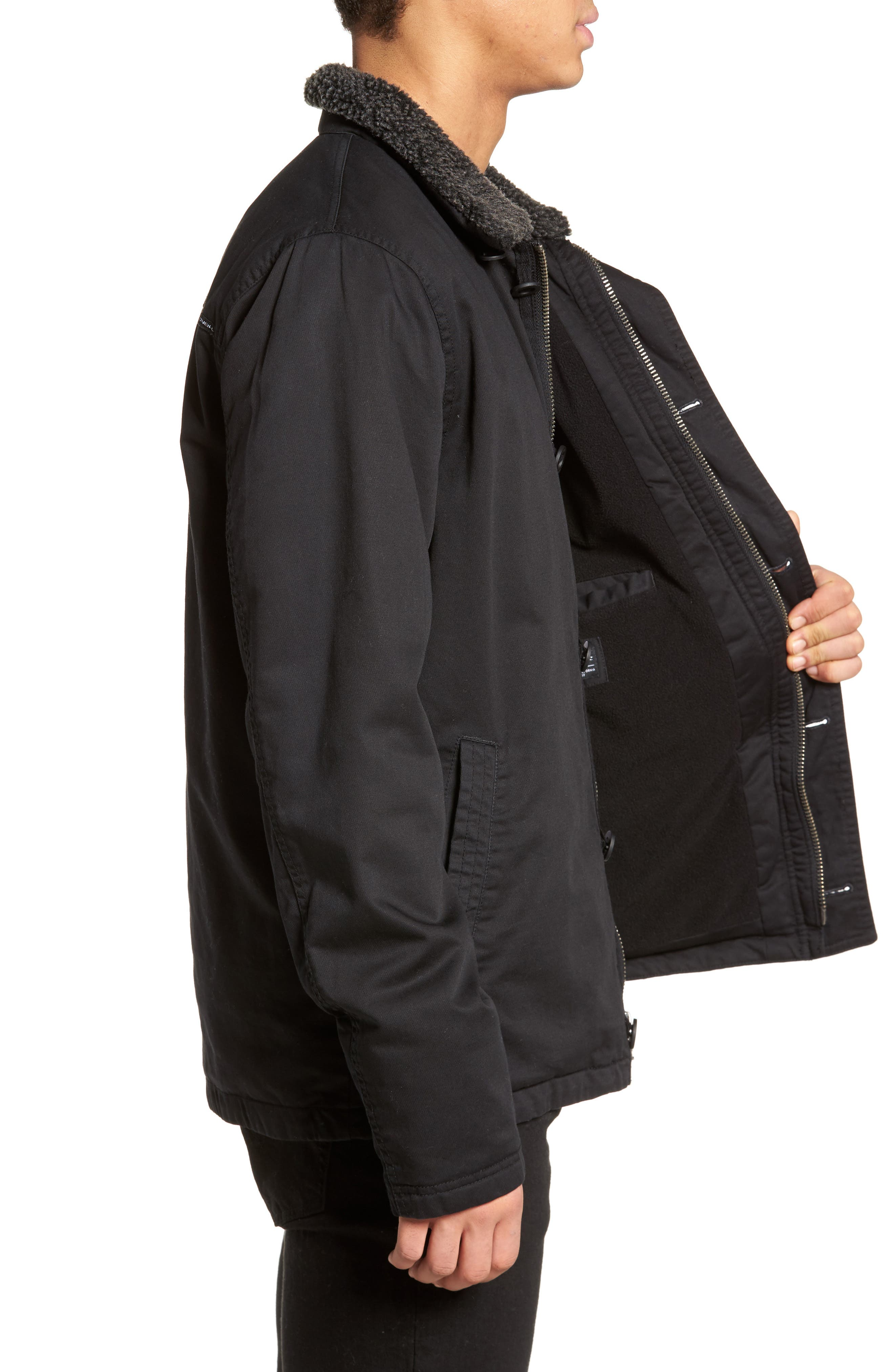 Burnside Faux Shearling Trim Deck Jacket,                             Alternate thumbnail 3, color,                             001