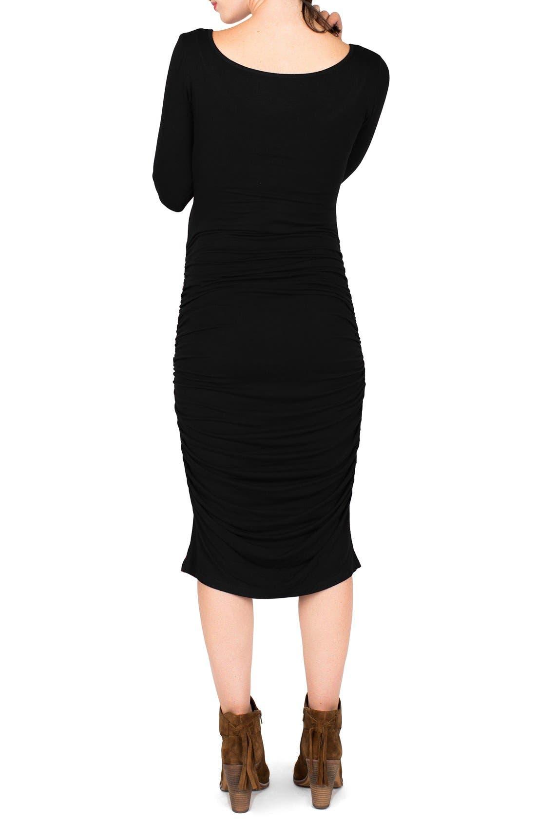 Nom Henley Maternity Dress,                             Alternate thumbnail 5, color,                             BLACK