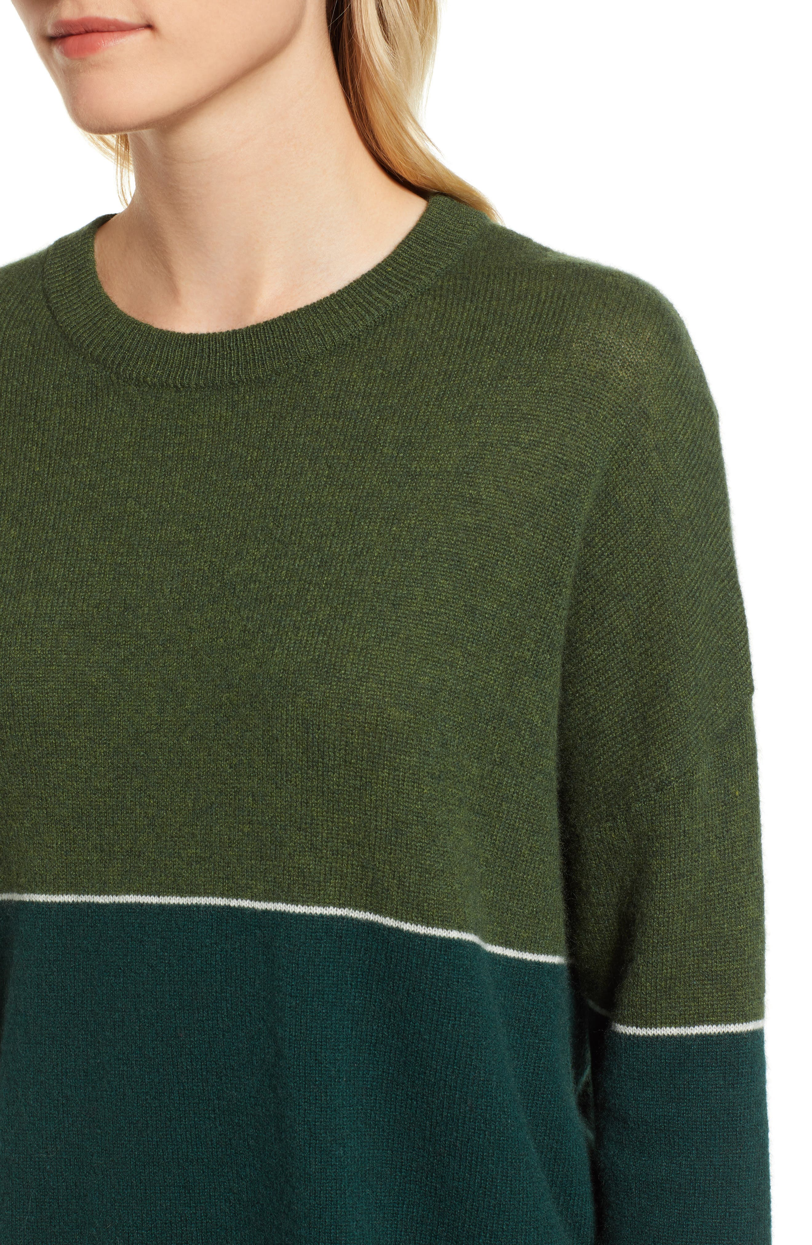 Cashmere Colorblock Sweater,                             Alternate thumbnail 4, color,                             FOREST/ ARMY