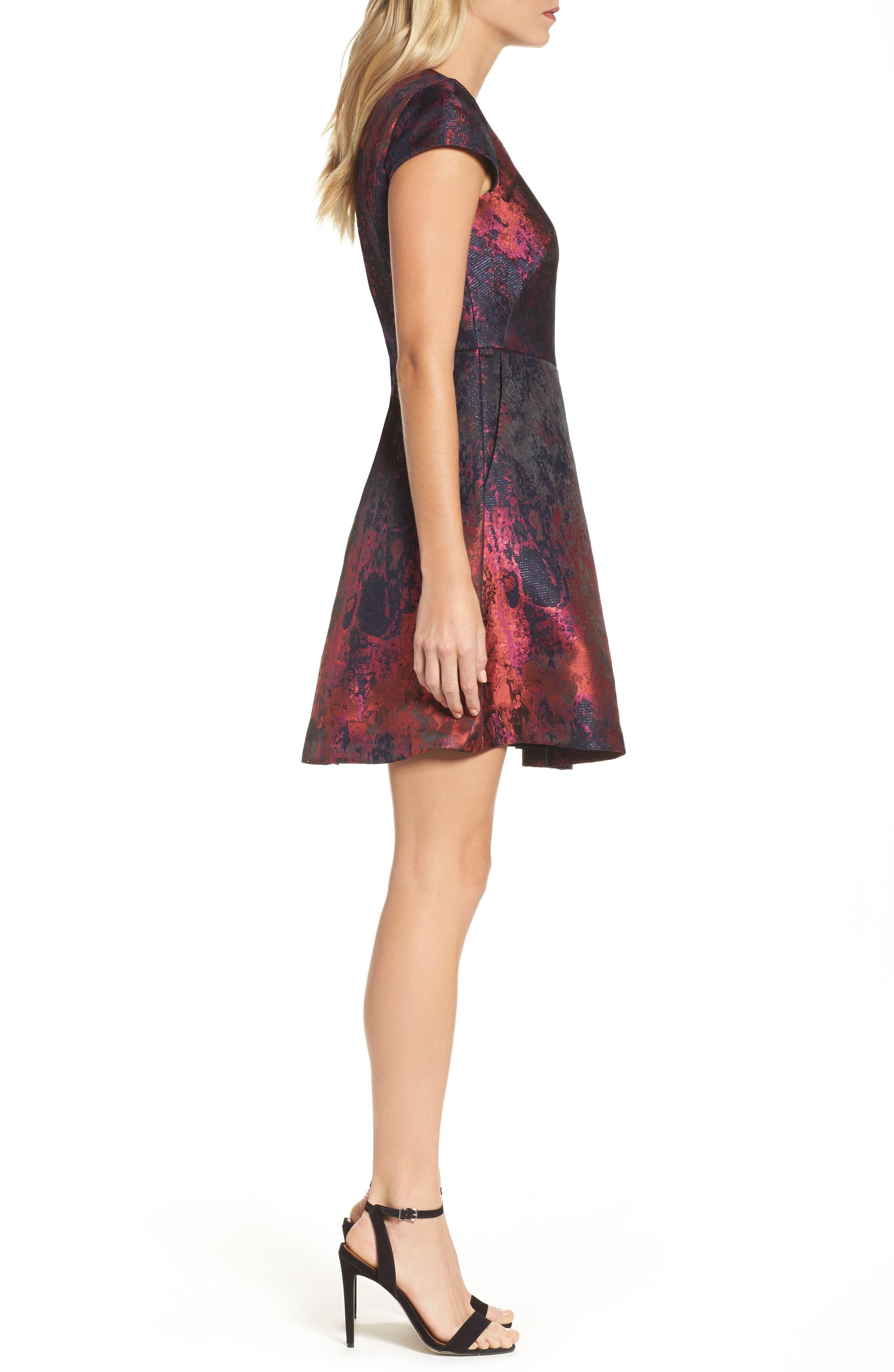 Jacquard Fit & Flare Dress,                             Alternate thumbnail 3, color,                             670