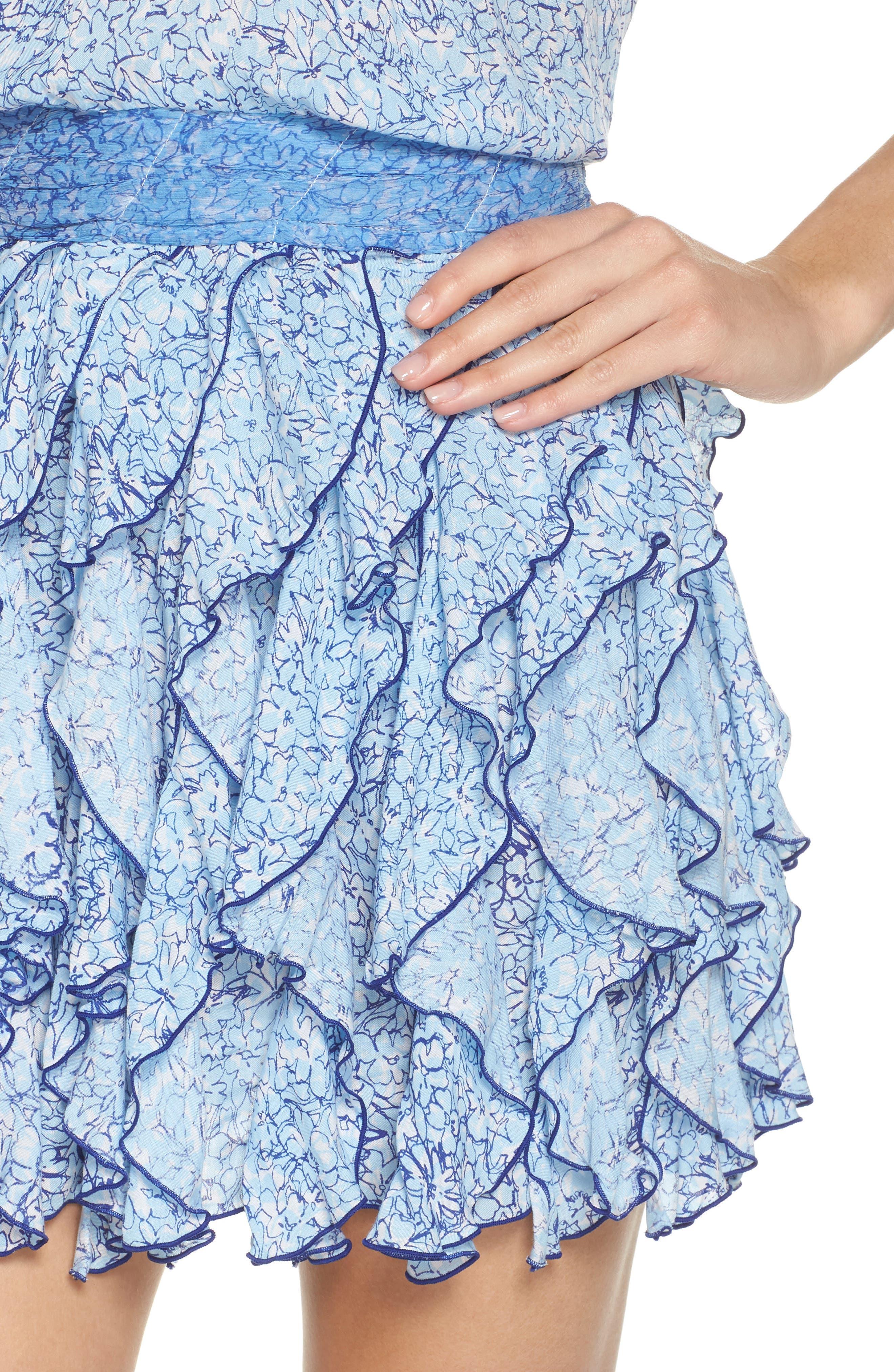 Poupette St. Barth Beline Cover-Up Dress,                             Alternate thumbnail 4, color,                             BLUE JOY