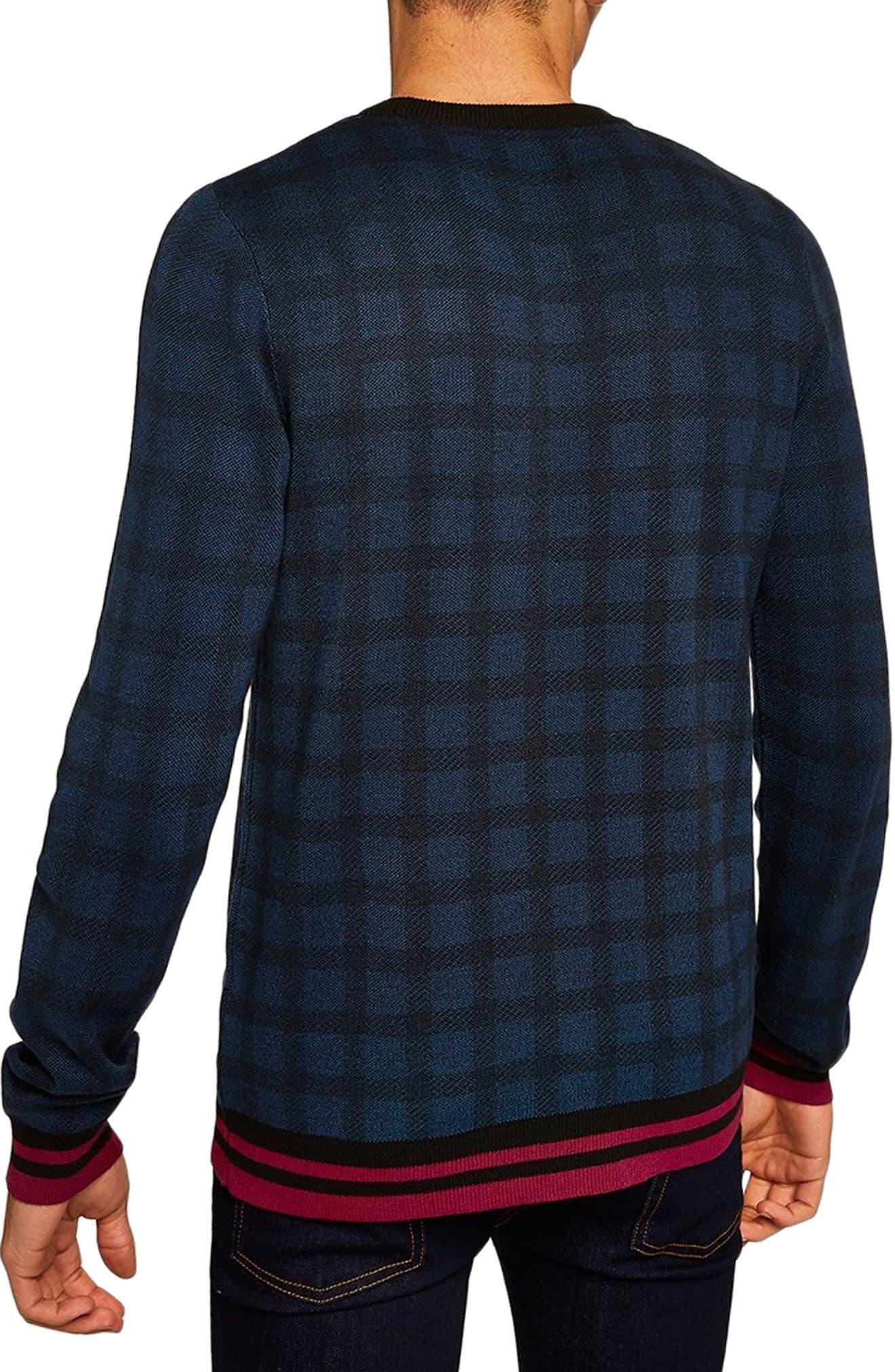 Check Print Classic Fit Sweater,                             Alternate thumbnail 2, color,                             BLUE MULTI