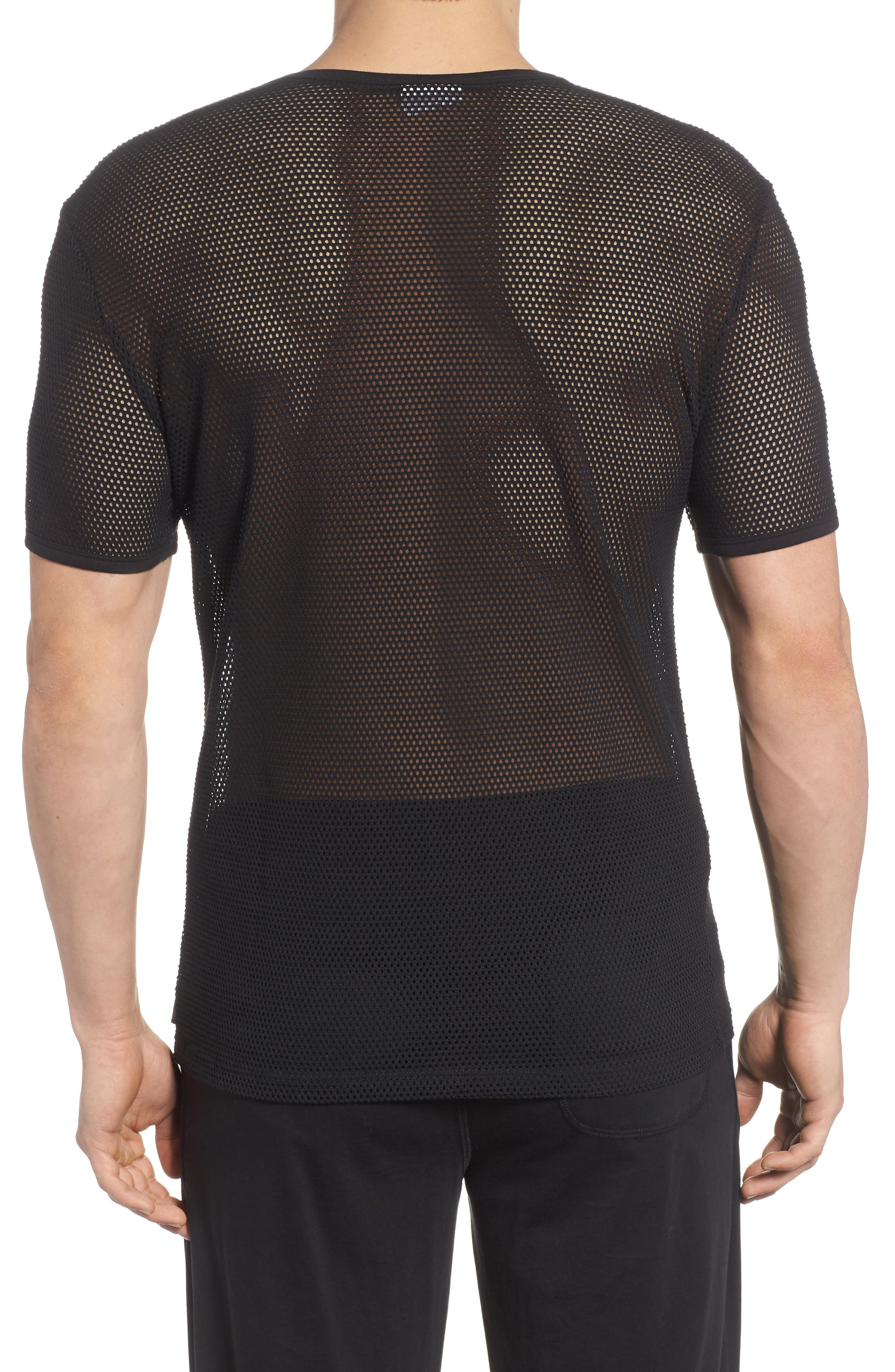 Stretch Mesh T-Shirt,                             Alternate thumbnail 3, color,