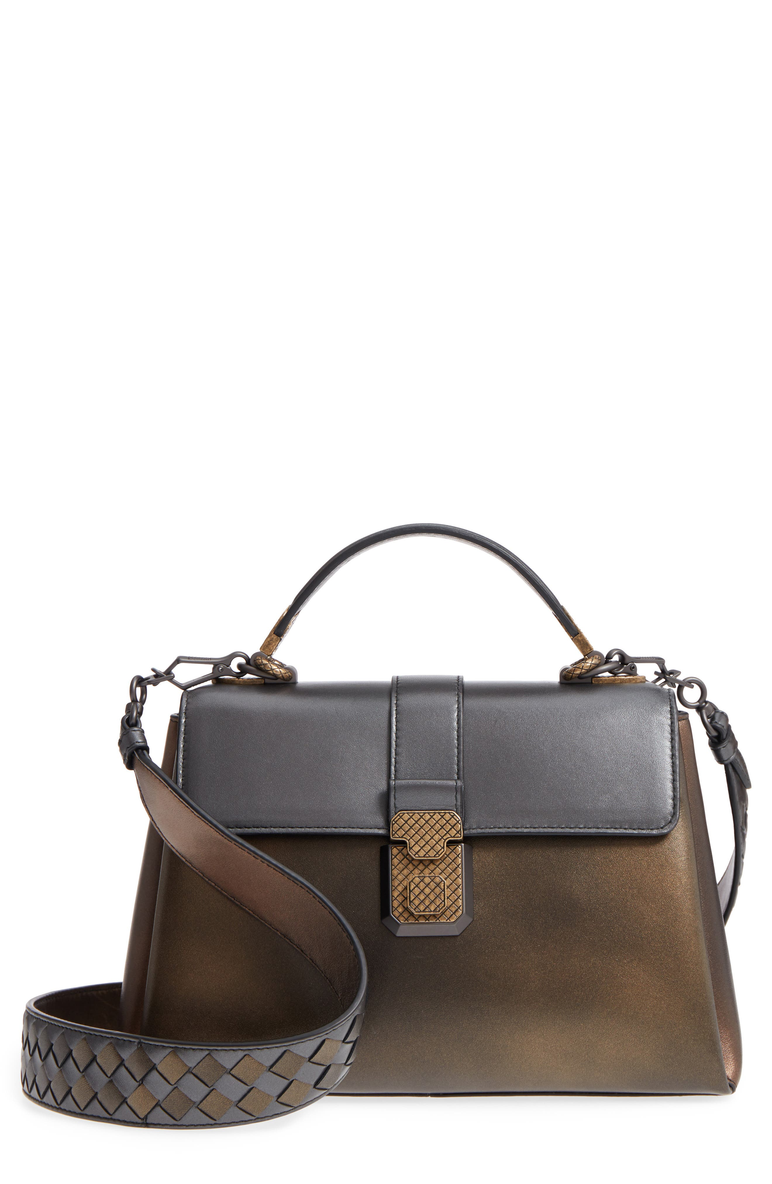 Small Piazza Tricolor Metallic Leather Handbag,                             Main thumbnail 1, color,                             DARK GOLD MULTI