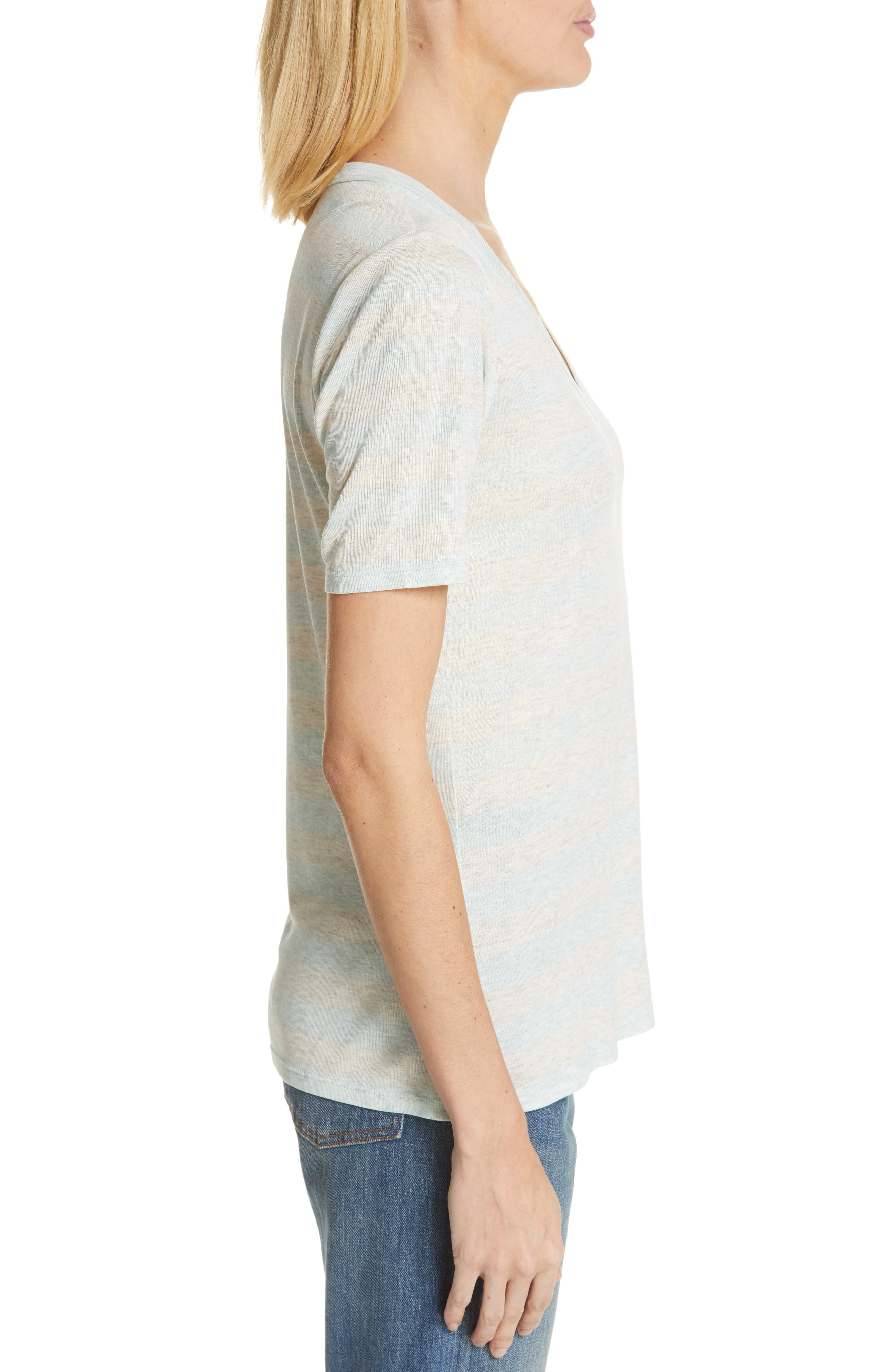 V-Neck Tee,                             Alternate thumbnail 3, color,                             GREY- BLUE EVEN STRIPE
