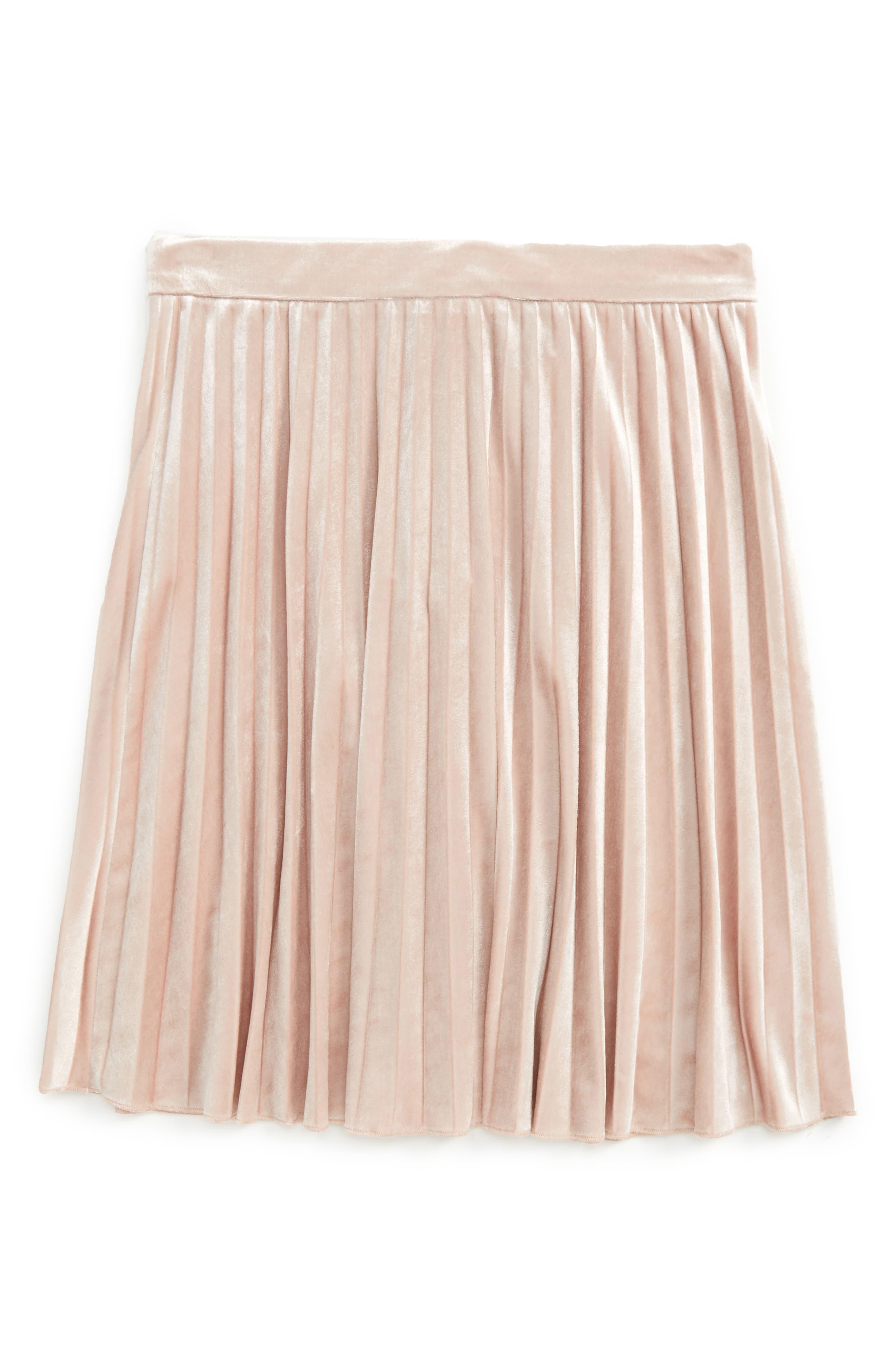 Velvet Pleated Skirt,                             Main thumbnail 1, color,                             684