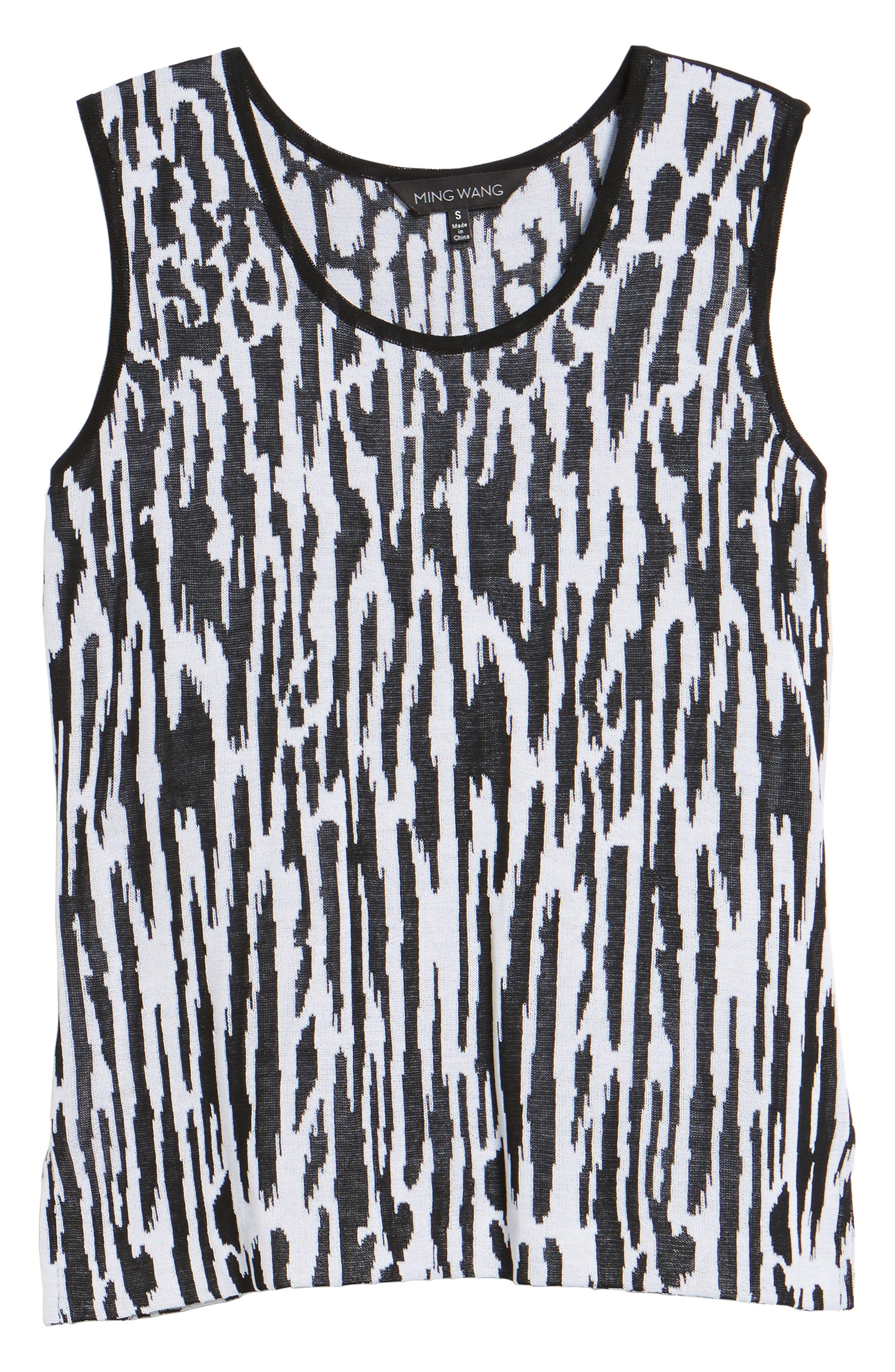 Animal Pattern Knit Tank,                             Alternate thumbnail 6, color,                             BLACK/ WHITE