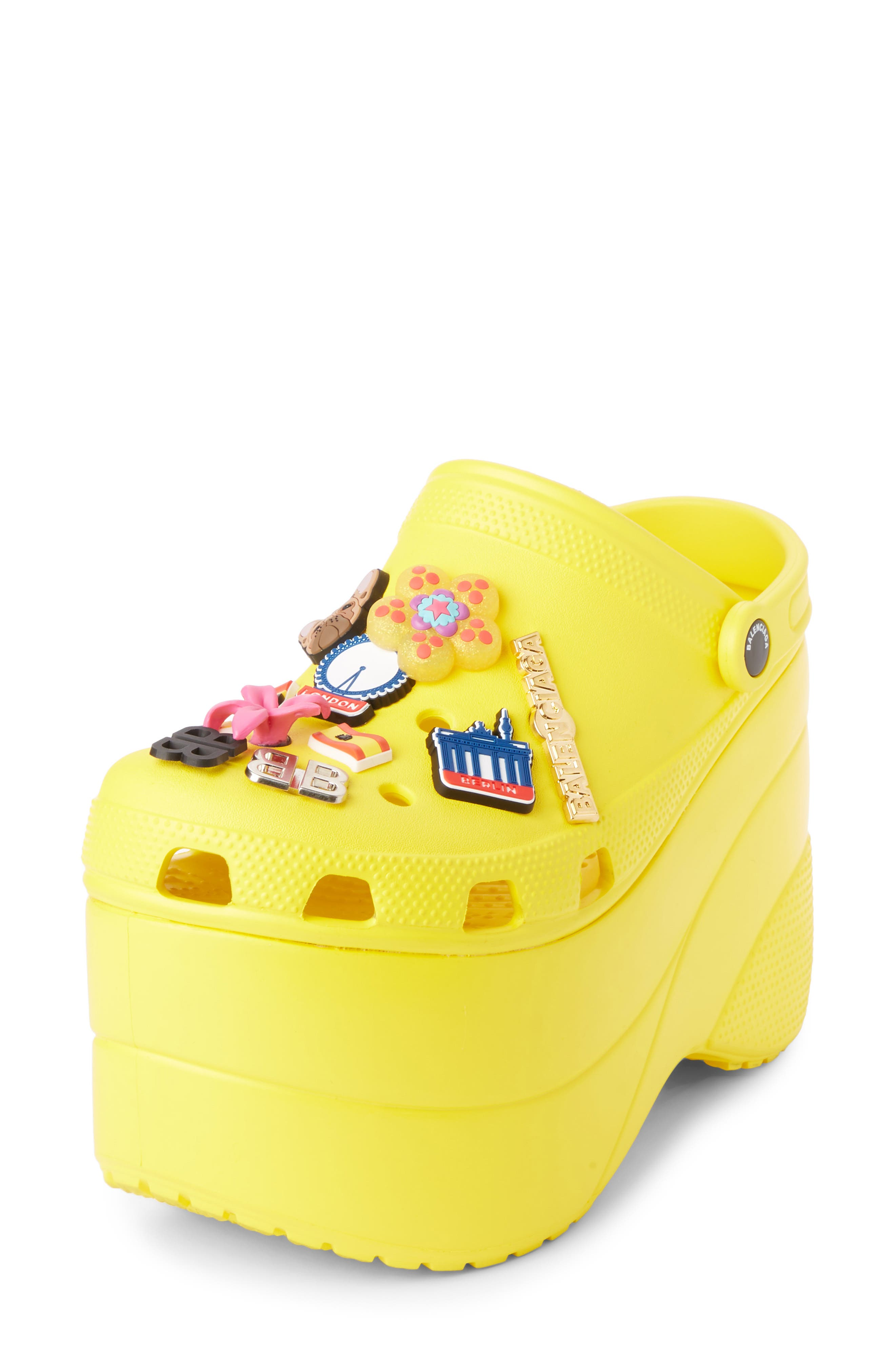 Foam Embellished Platform Clog,                             Main thumbnail 1, color,                             YELLOW