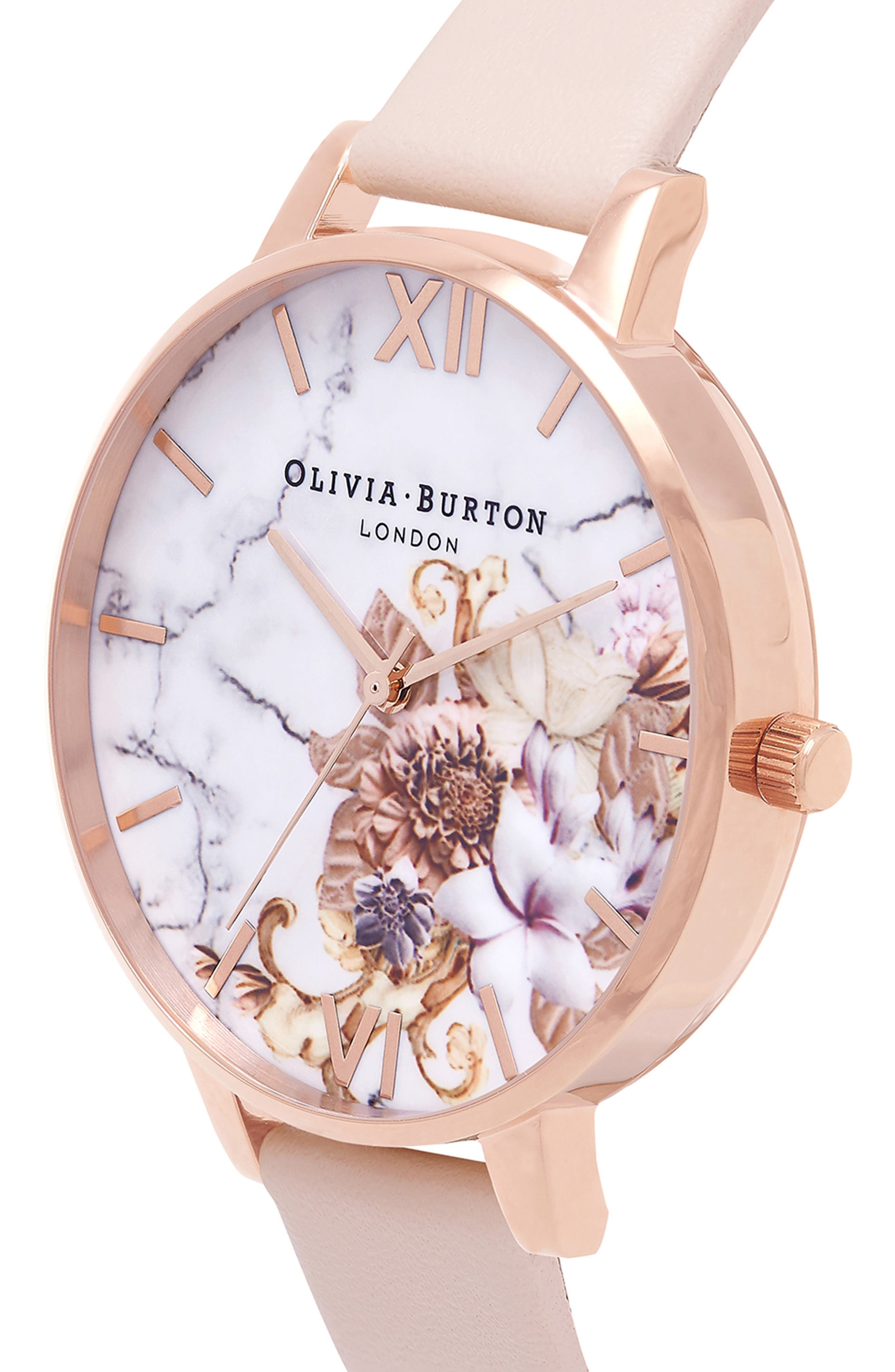 Marble Floral Leather Strap Watch, 38mm,                             Alternate thumbnail 12, color,