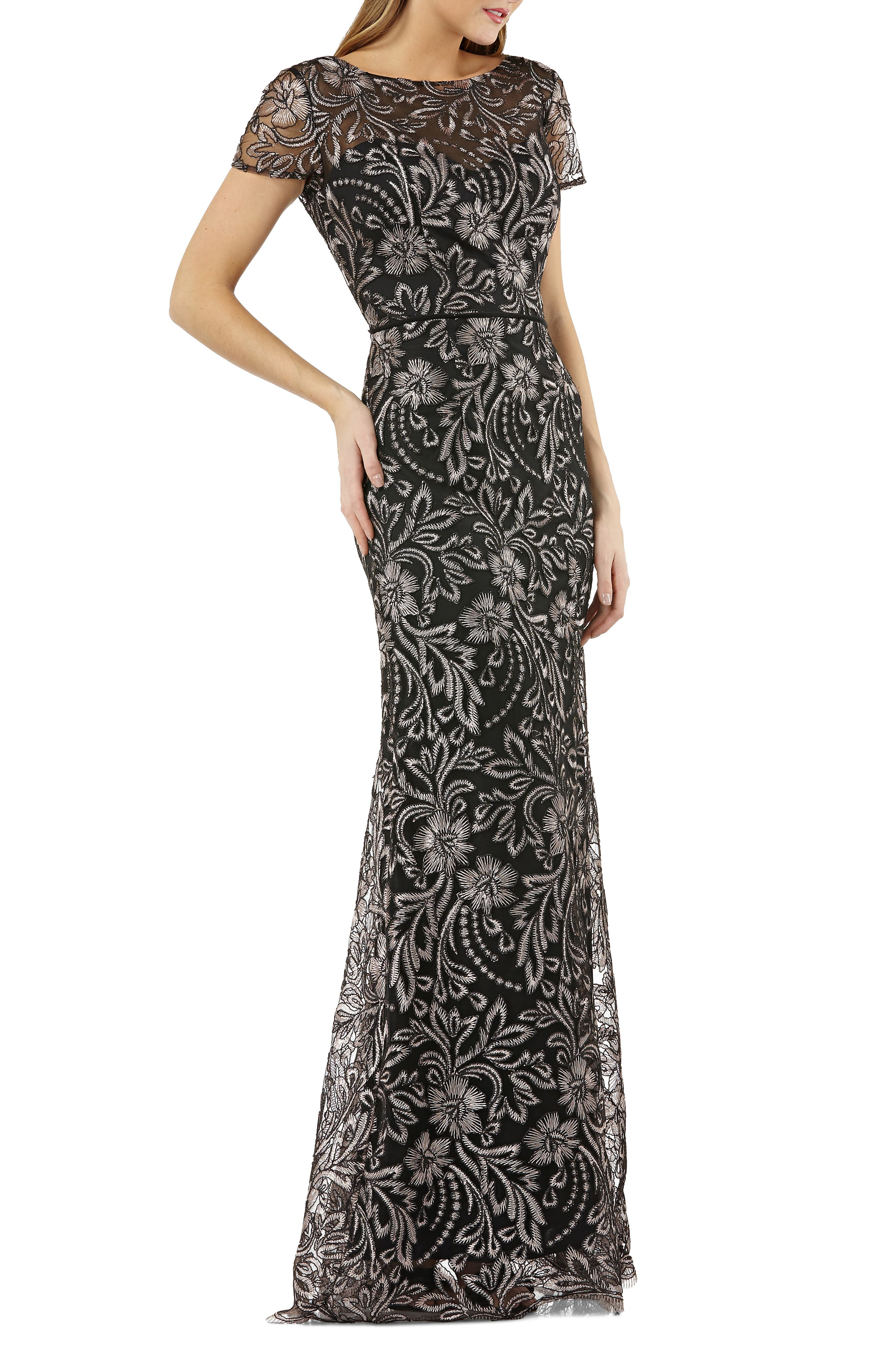 JS COLLECTIONS,                             Embroidered Trumpet Gown,                             Main thumbnail 1, color,                             001