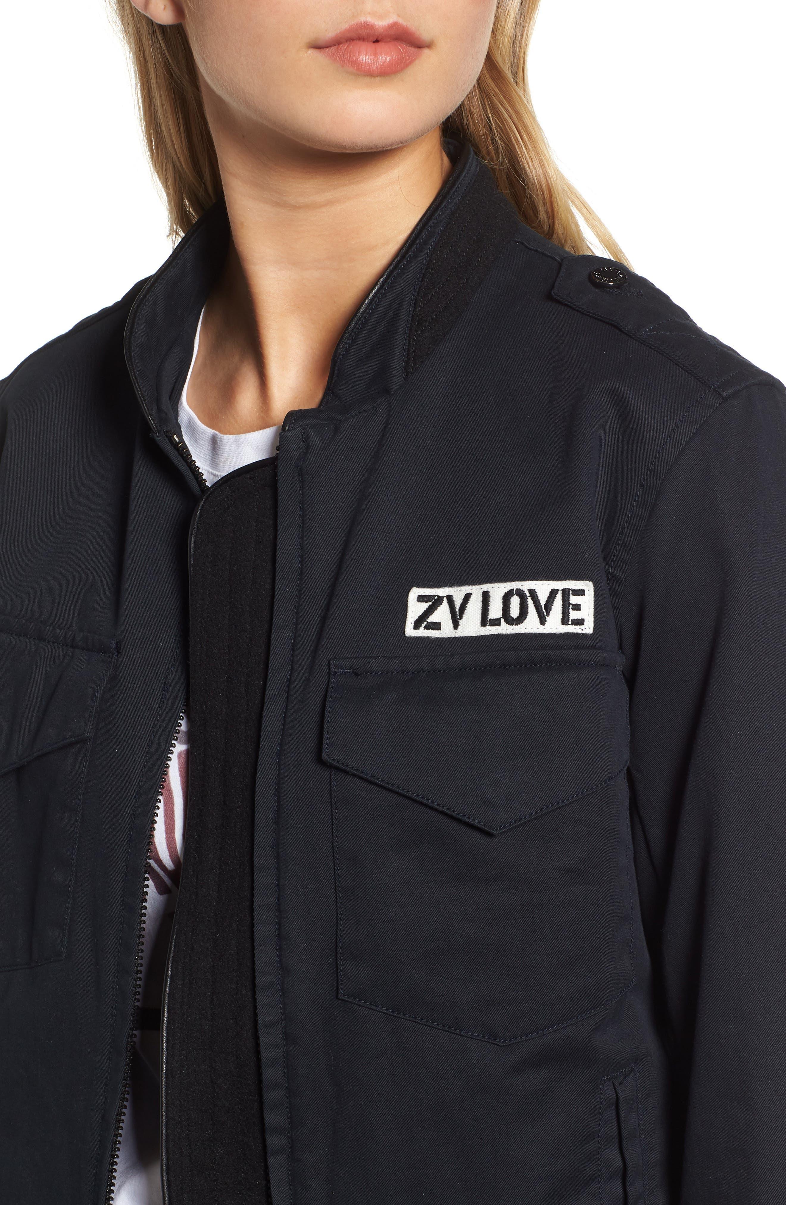 ZADIG & VOLTAIRE,                             Kavy Spi Embroidered Jacket,                             Alternate thumbnail 5, color,                             001