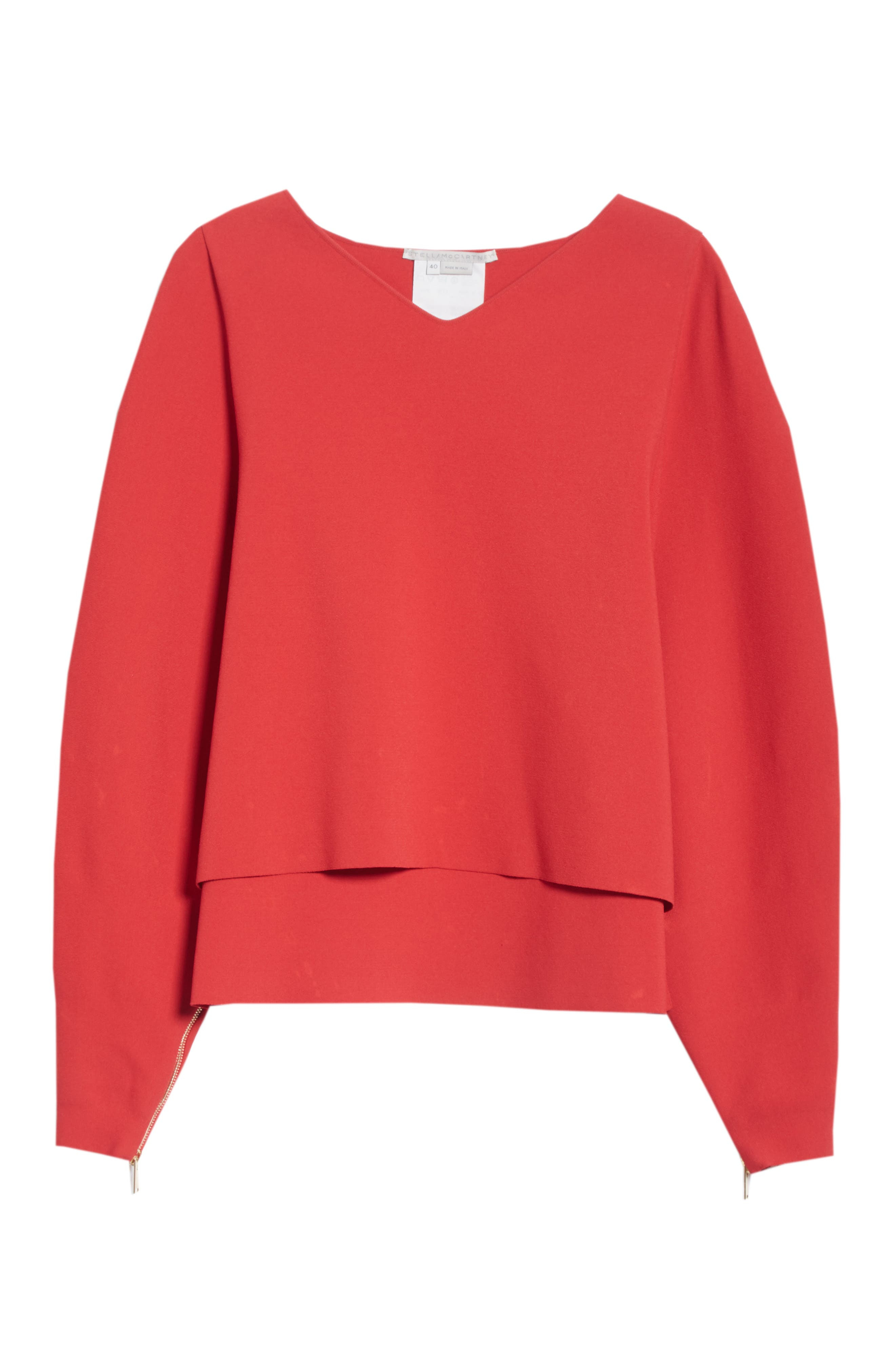 Zip Sleeve Milano Stitch Sweater,                             Alternate thumbnail 6, color,                             627