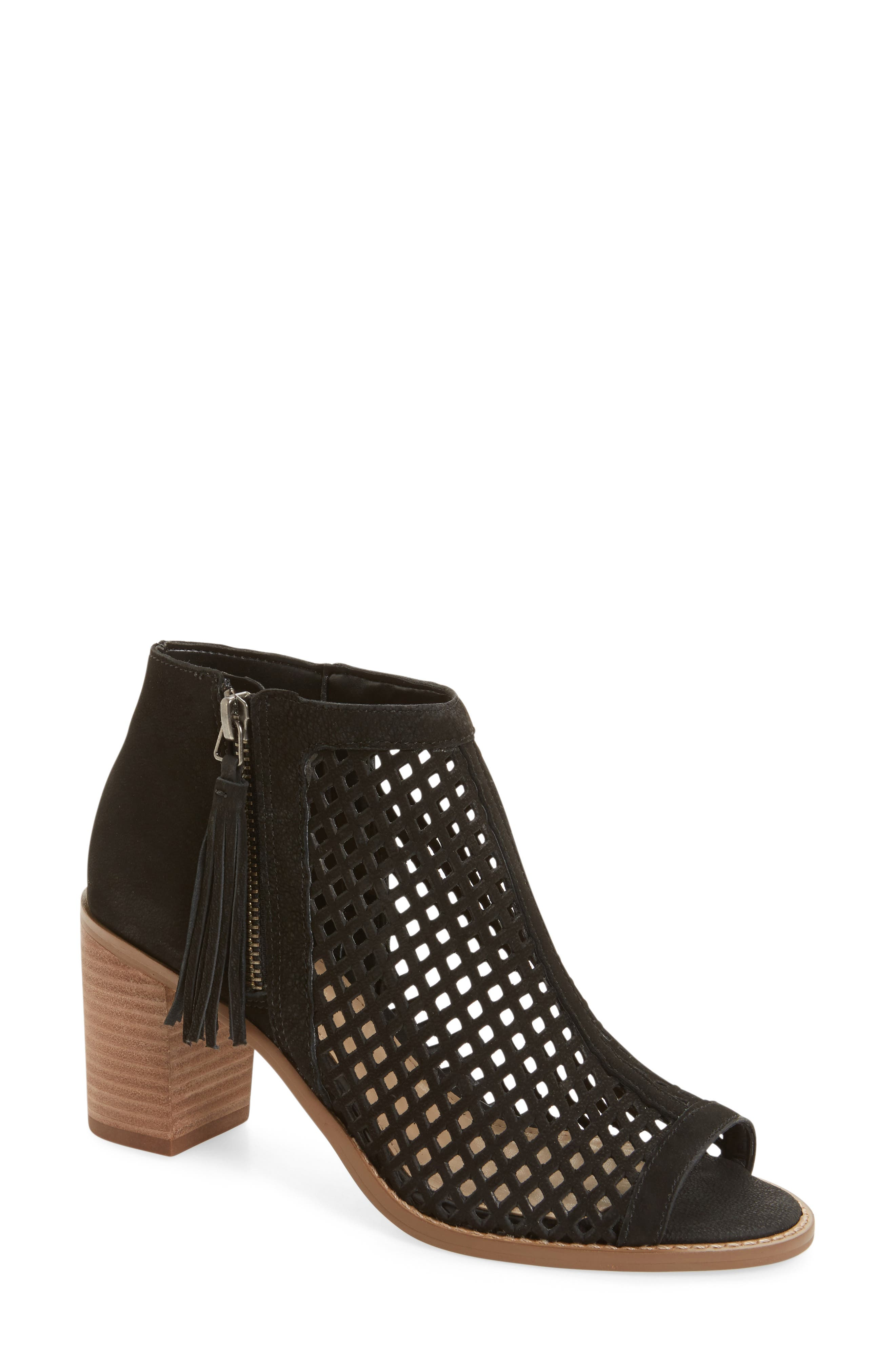 Tresin Perforated Open-Toe Bootie,                             Main thumbnail 1, color,                             001