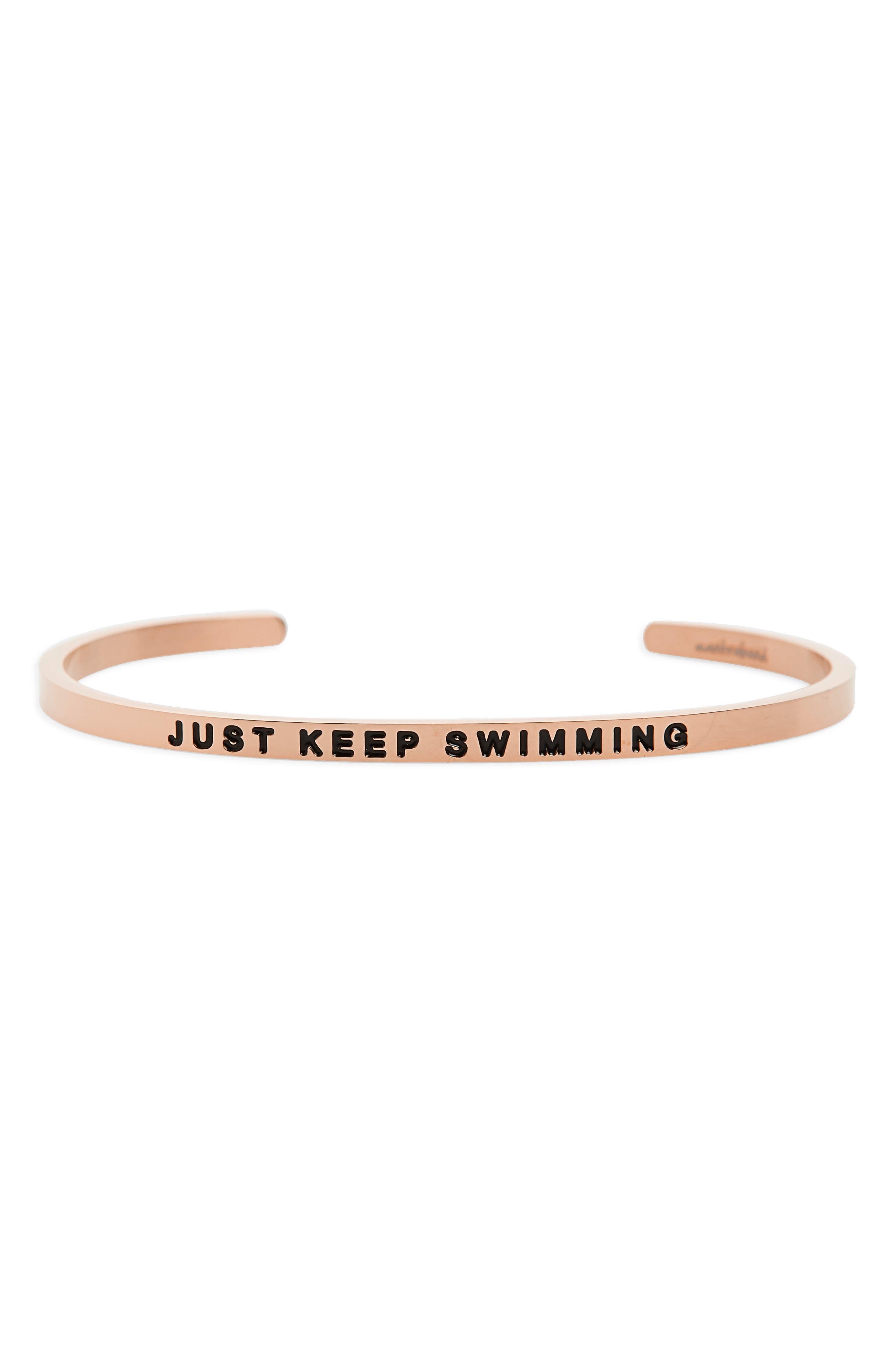 Just Keep Swimming Engraved Cuff,                             Main thumbnail 2, color,