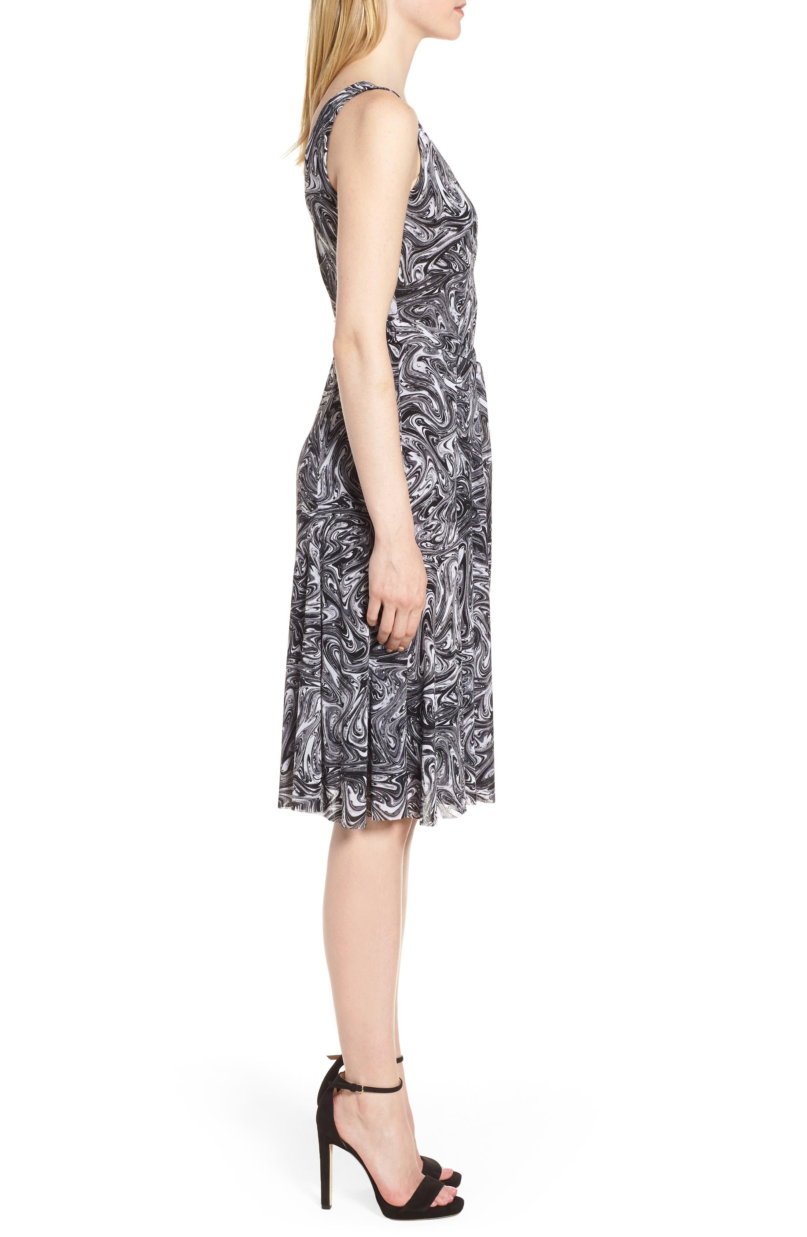 Watermark Swirl Flare Tank Dress,                             Alternate thumbnail 3, color,                             001