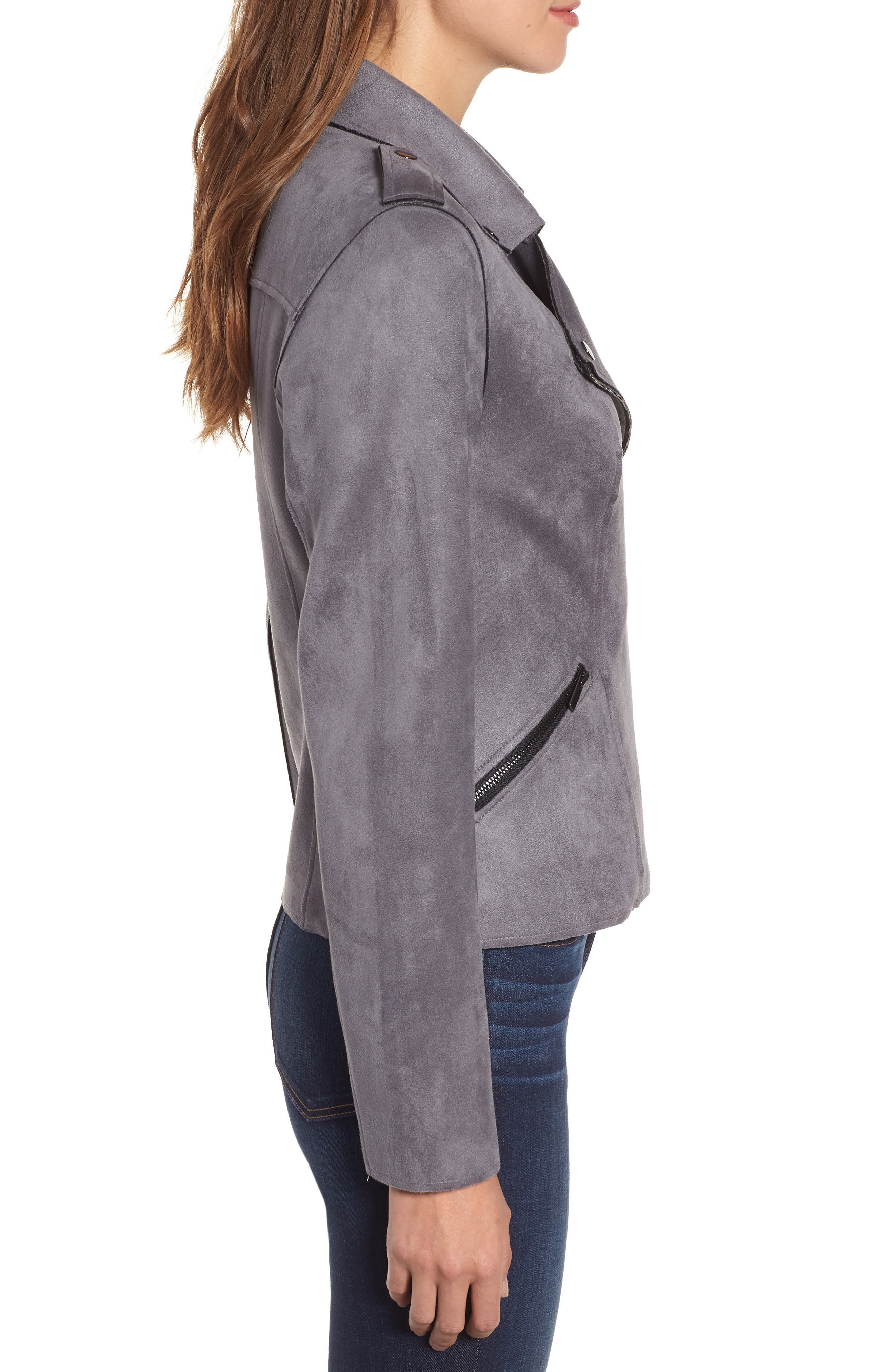 KUT FROM THE KLOTH,                             Haddie Faux Suede Moto Jacket,                             Alternate thumbnail 4, color,                             026