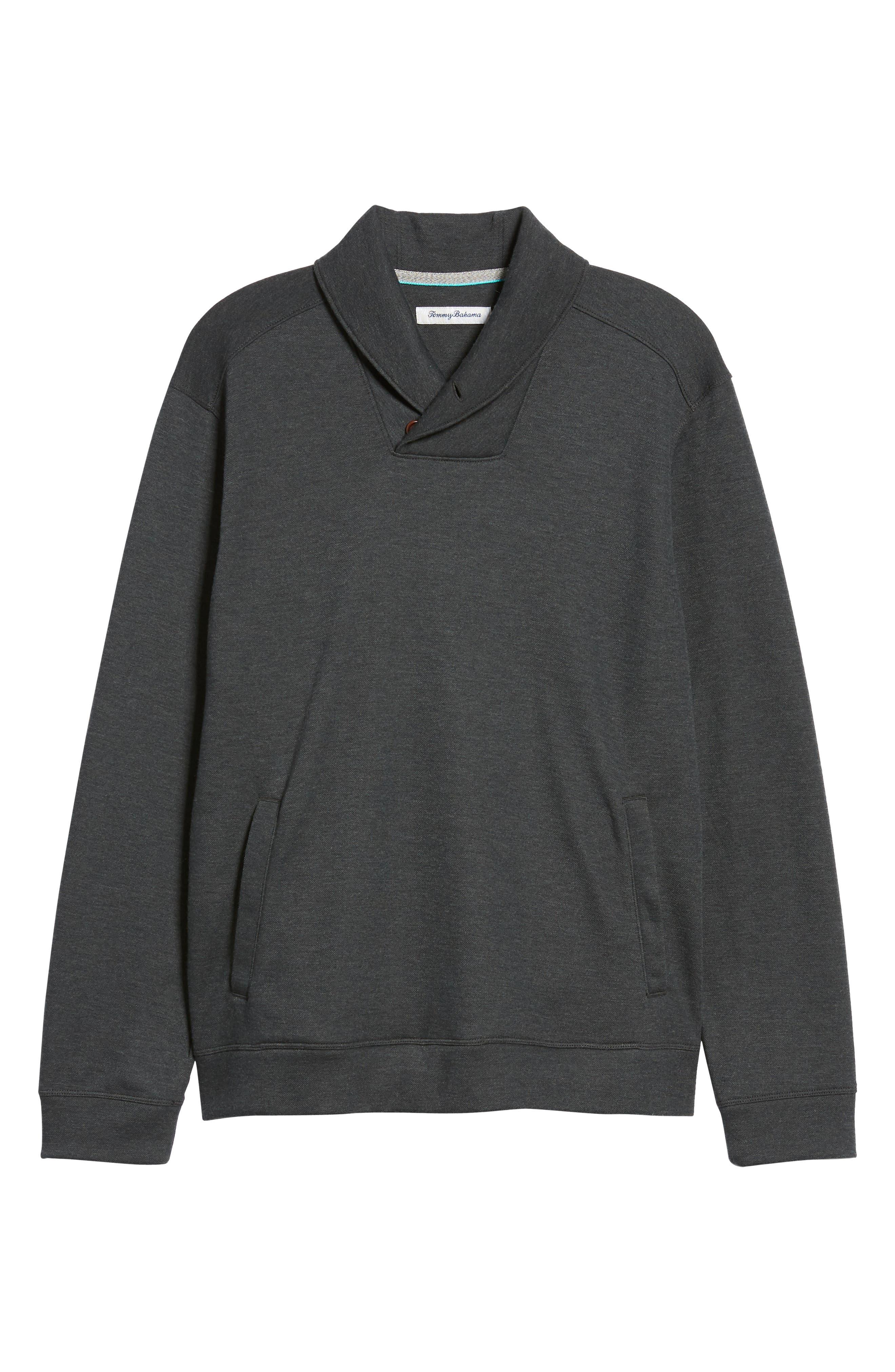 Sandbar Shawl Collar Regular Fit Pullover,                             Alternate thumbnail 6, color,                             COAL