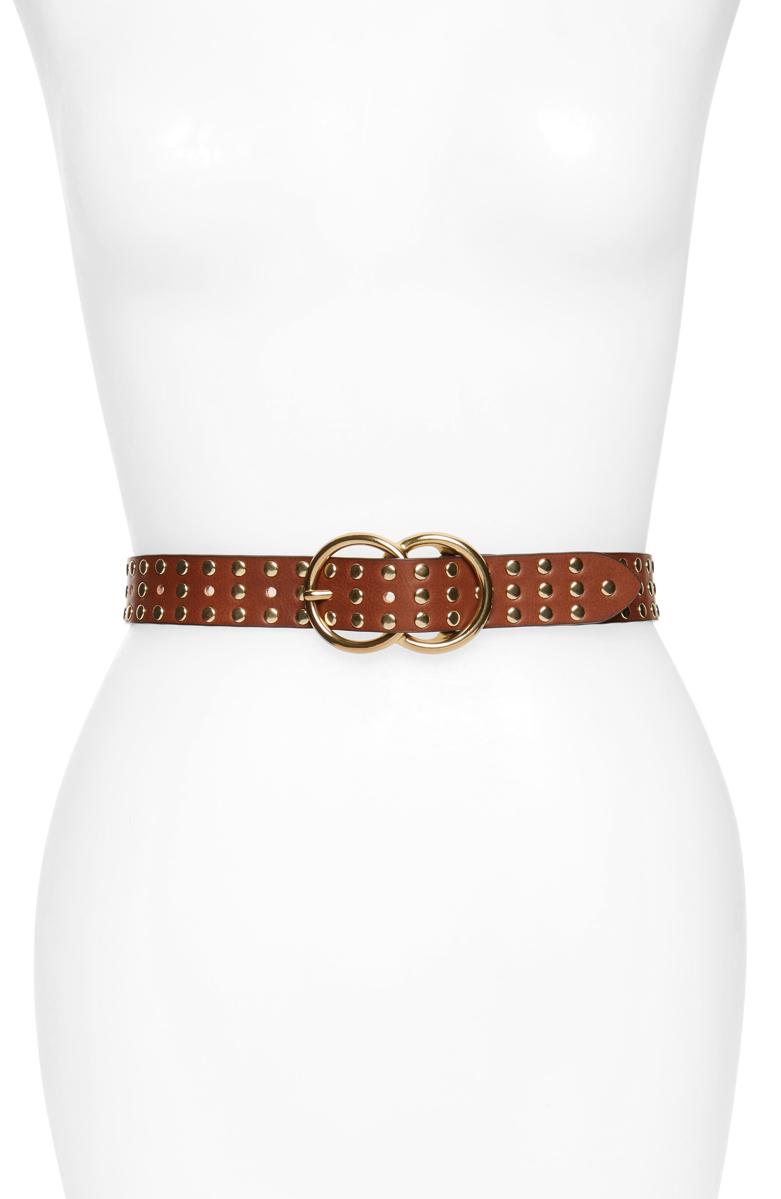 Studded Double Ring Belt,                             Main thumbnail 1, color,