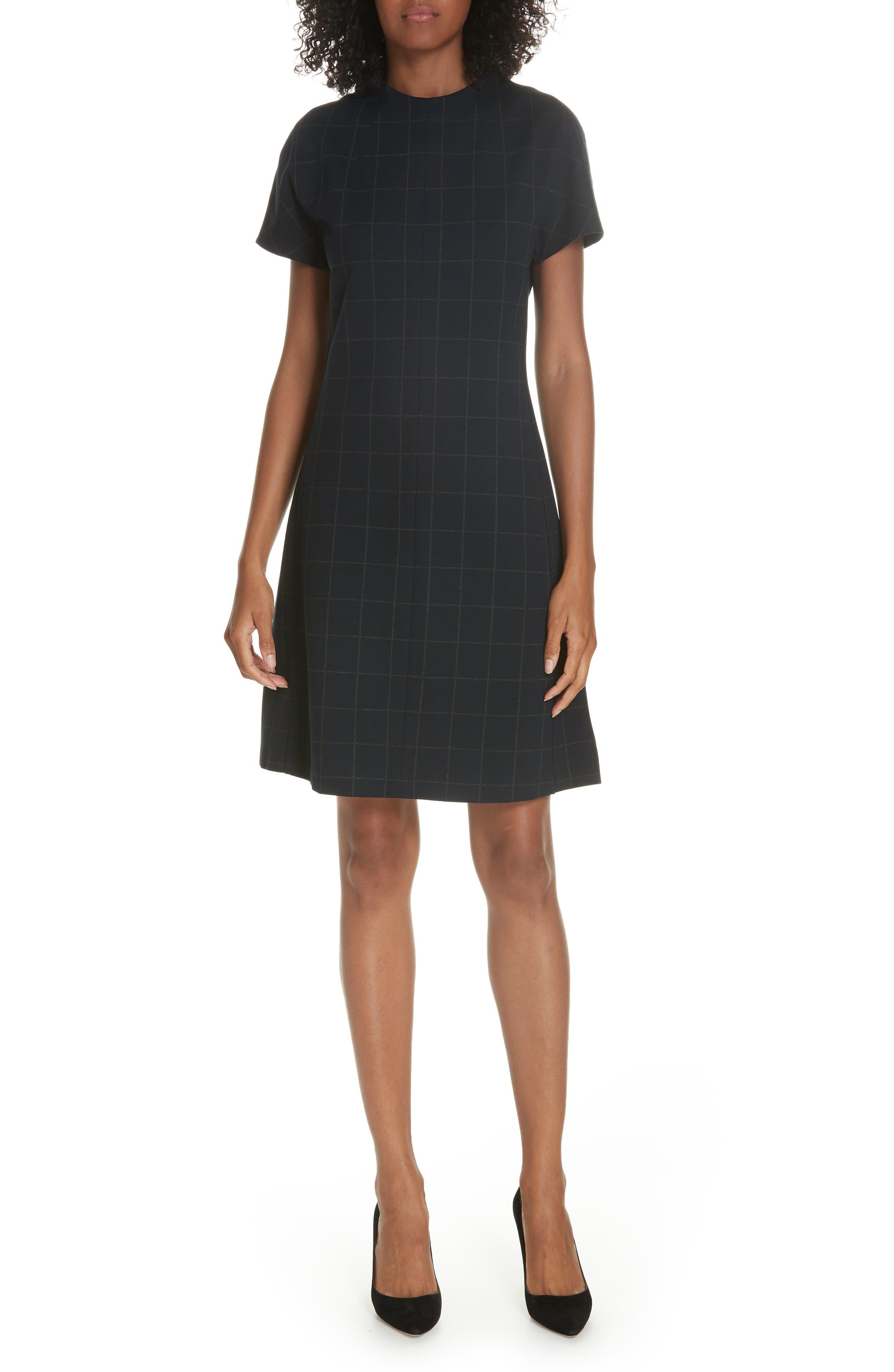 Windowpane Knit A-Line Dress,                             Main thumbnail 1, color,                             DEEP NAVY/ CHARCOAL MELANGE