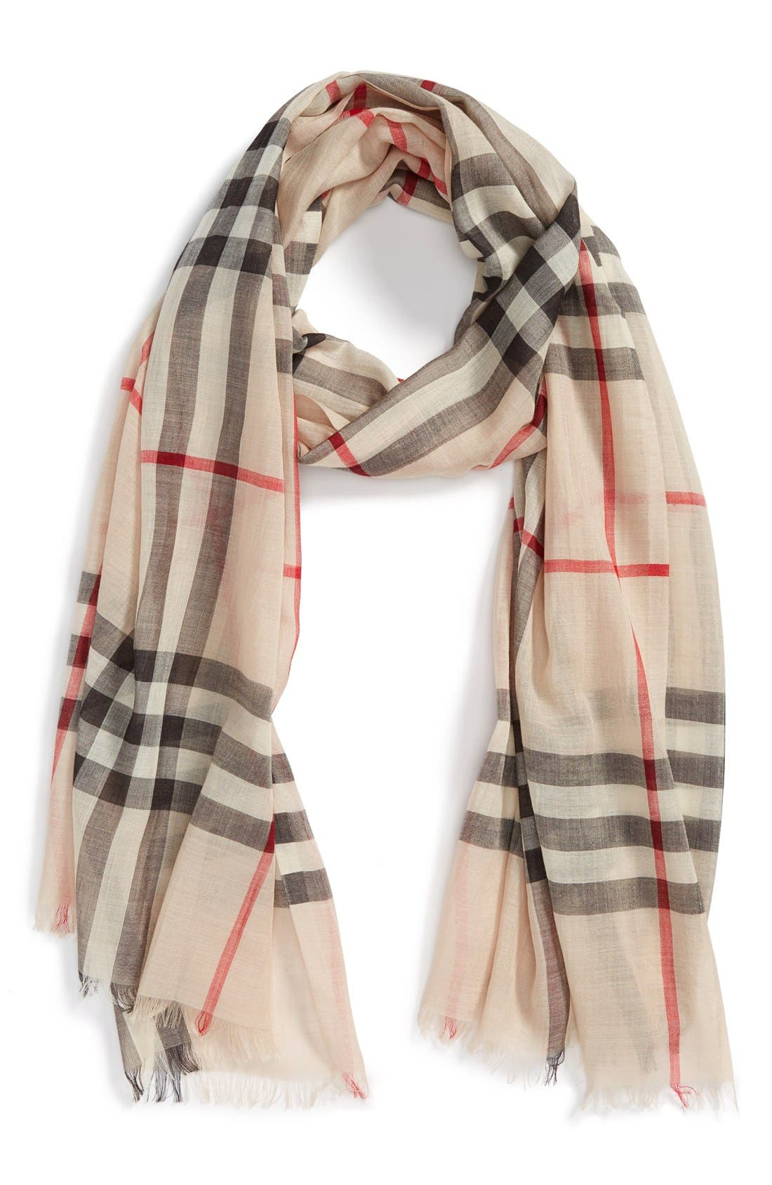 Giant Check Print Wool & Silk Scarf,                             Alternate thumbnail 2, color,                             STONE
