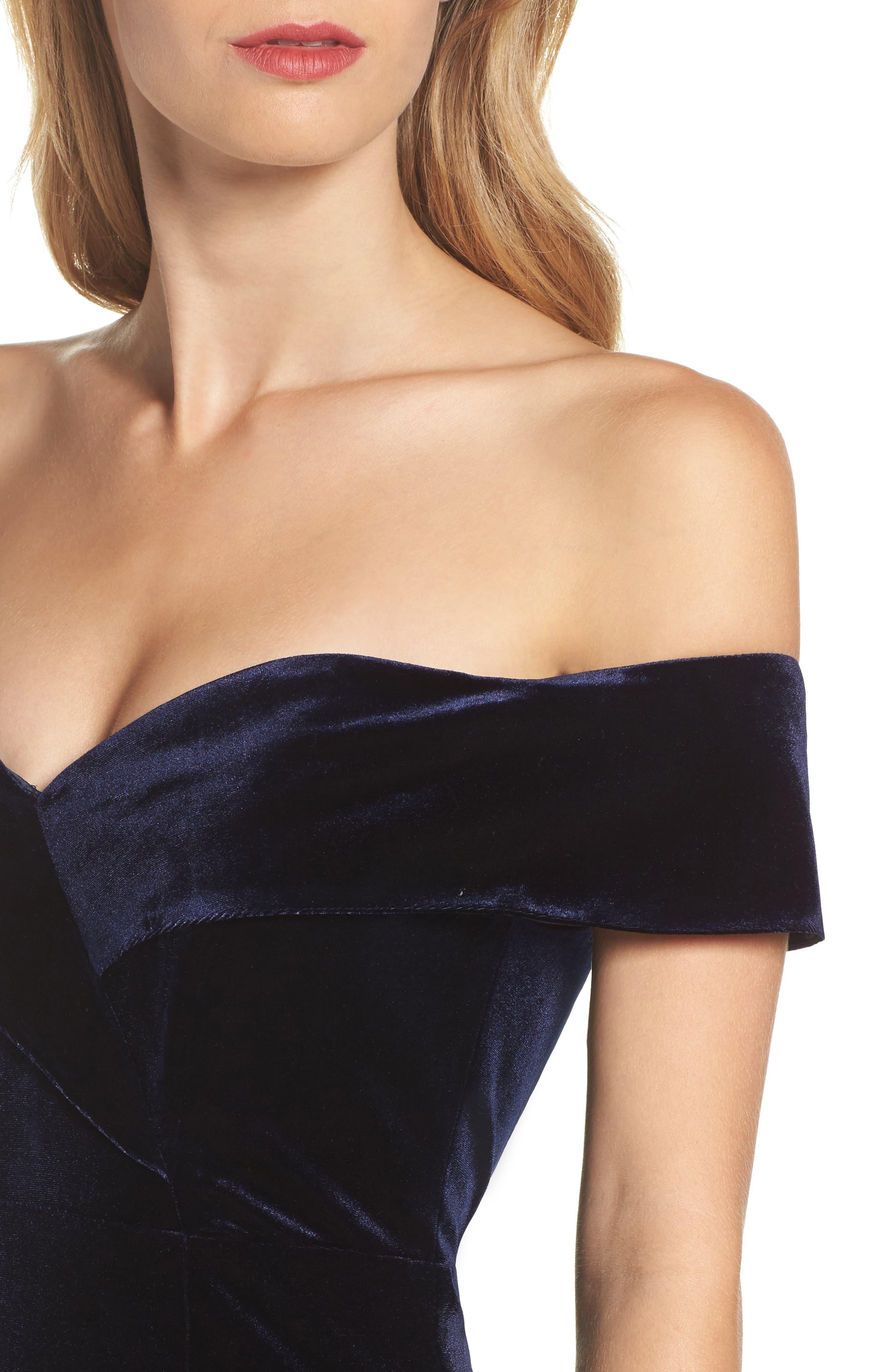 Bella Velvet Off the Shoulder Dress,                             Alternate thumbnail 4, color,                             422